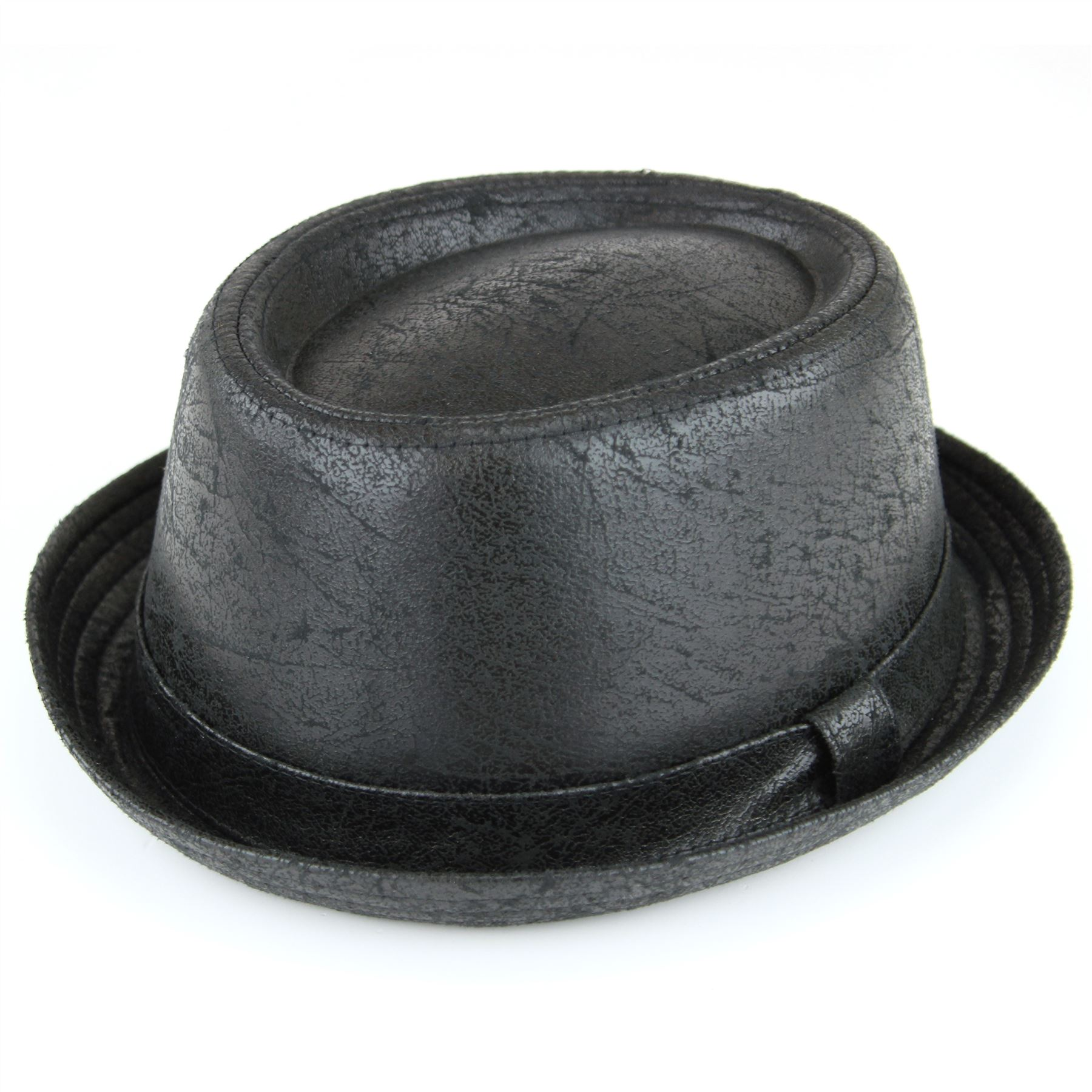 b60db6378855e Black cracked leather effect pork pie trilby hat from the Hawkins  Collection.