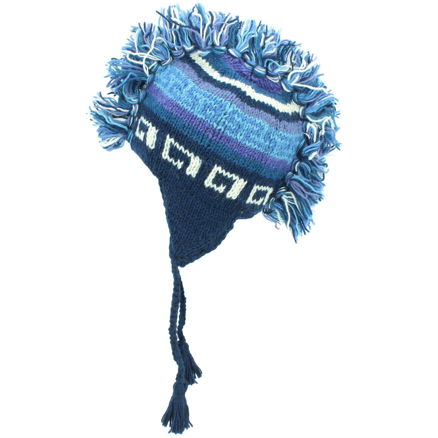 BOBBLE HAT WOOL KNIT WARM WINTER EARFLAP BEANIE FLEECE LINED BLUE /& GREEN