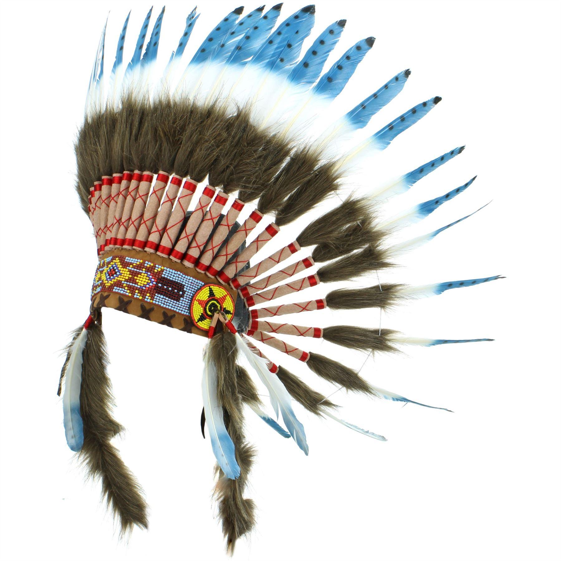 Penacho Indio Jefe Plumas Sombrero Indio Americano Gringo Azul Negro ...