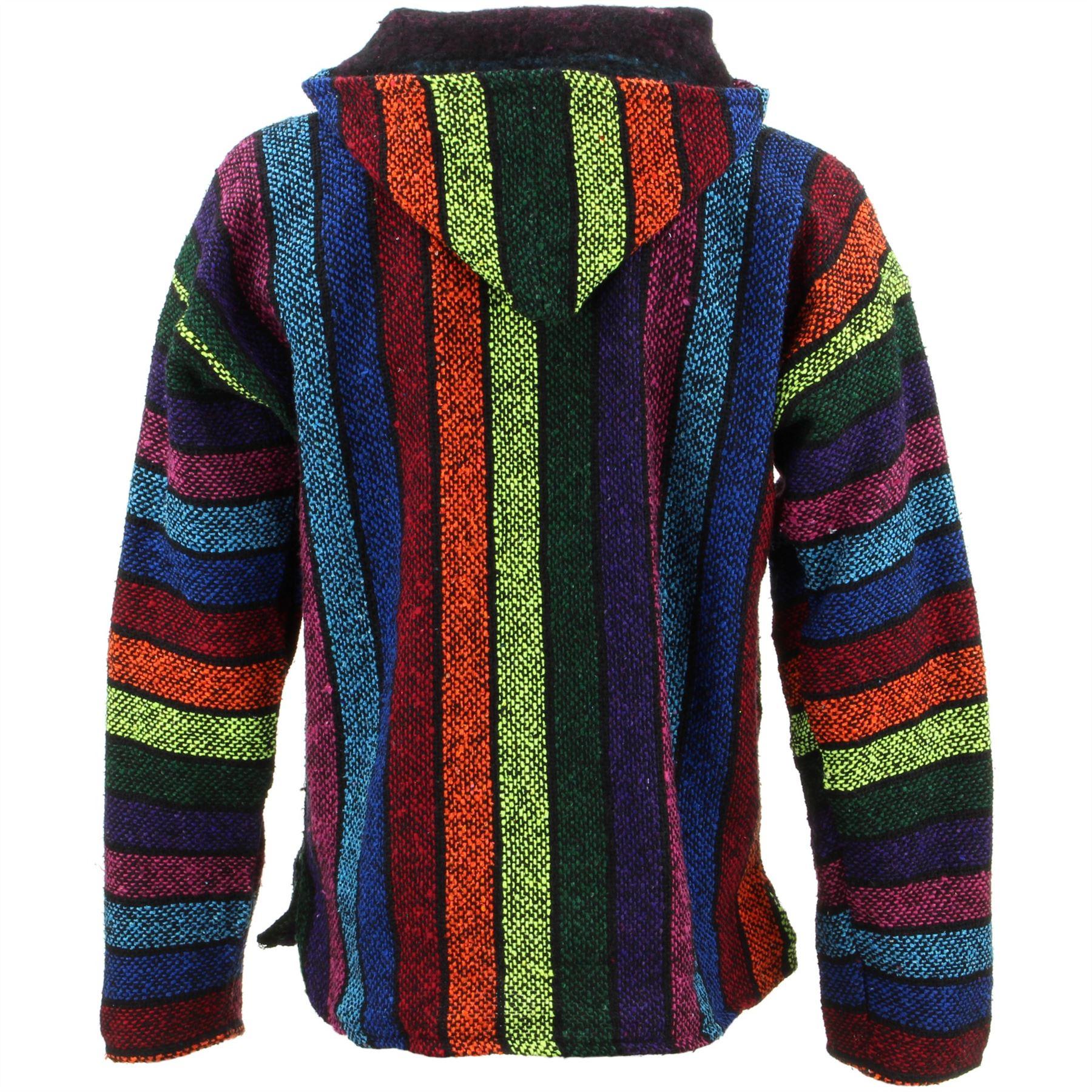 Mexican-Baja-Hoodie-Hoody-Jerga-Rug-Jumper-Siesta-Surf-Hippy-Baha-Pullover thumbnail 3