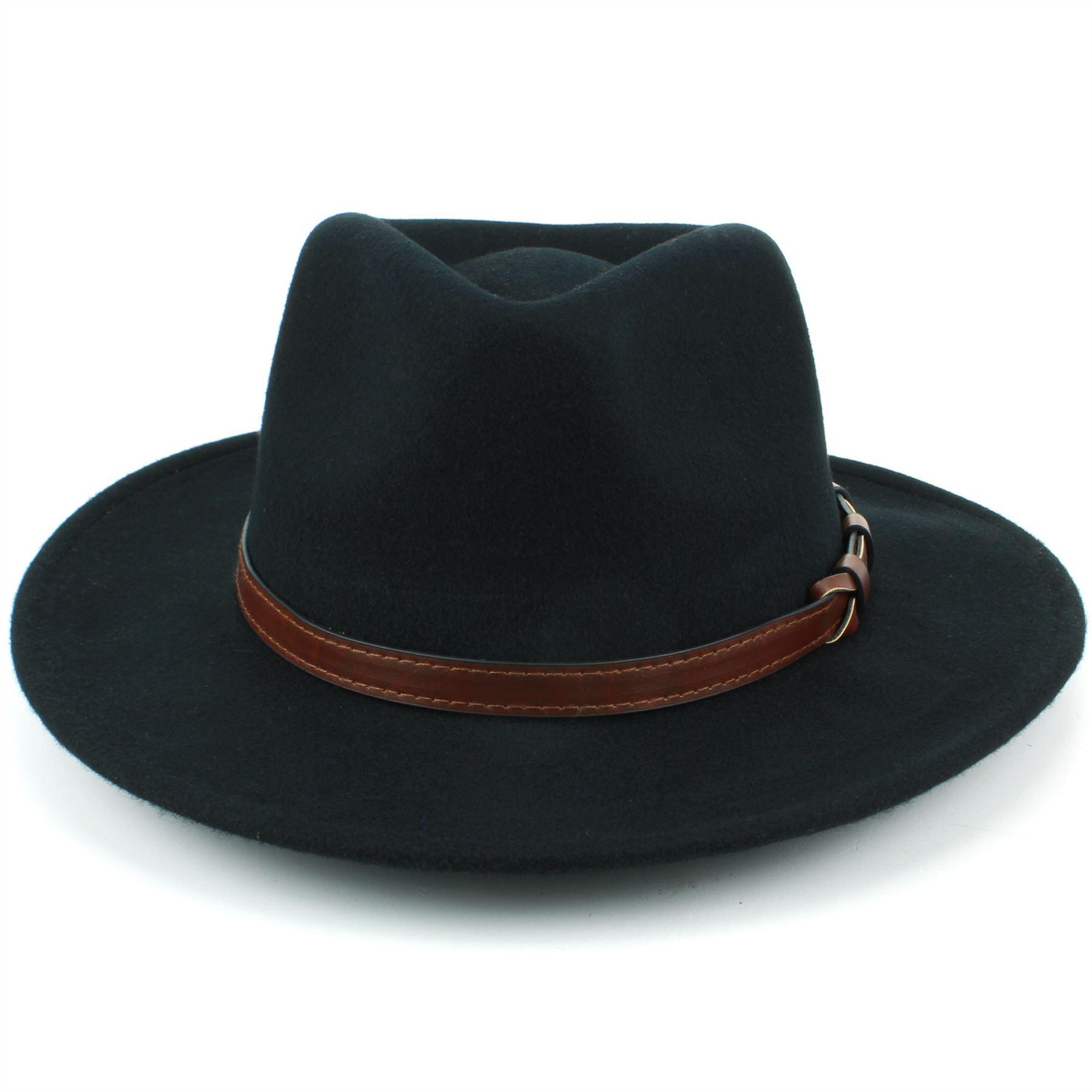 Fedora-Hat-Wool-BLACK-BROWN-Hawkins-Trilby-Brim-Mens-Ladies-Travel thumbnail 3