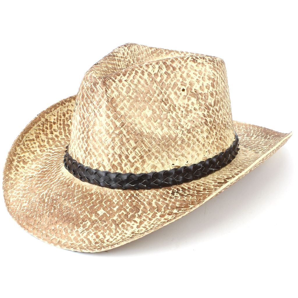 Details about Hat Cowboy Straw Sun Unisex Fedora Western WEATHERED EFFECT  BLACK Hawkins Summer 1ceccbcce906