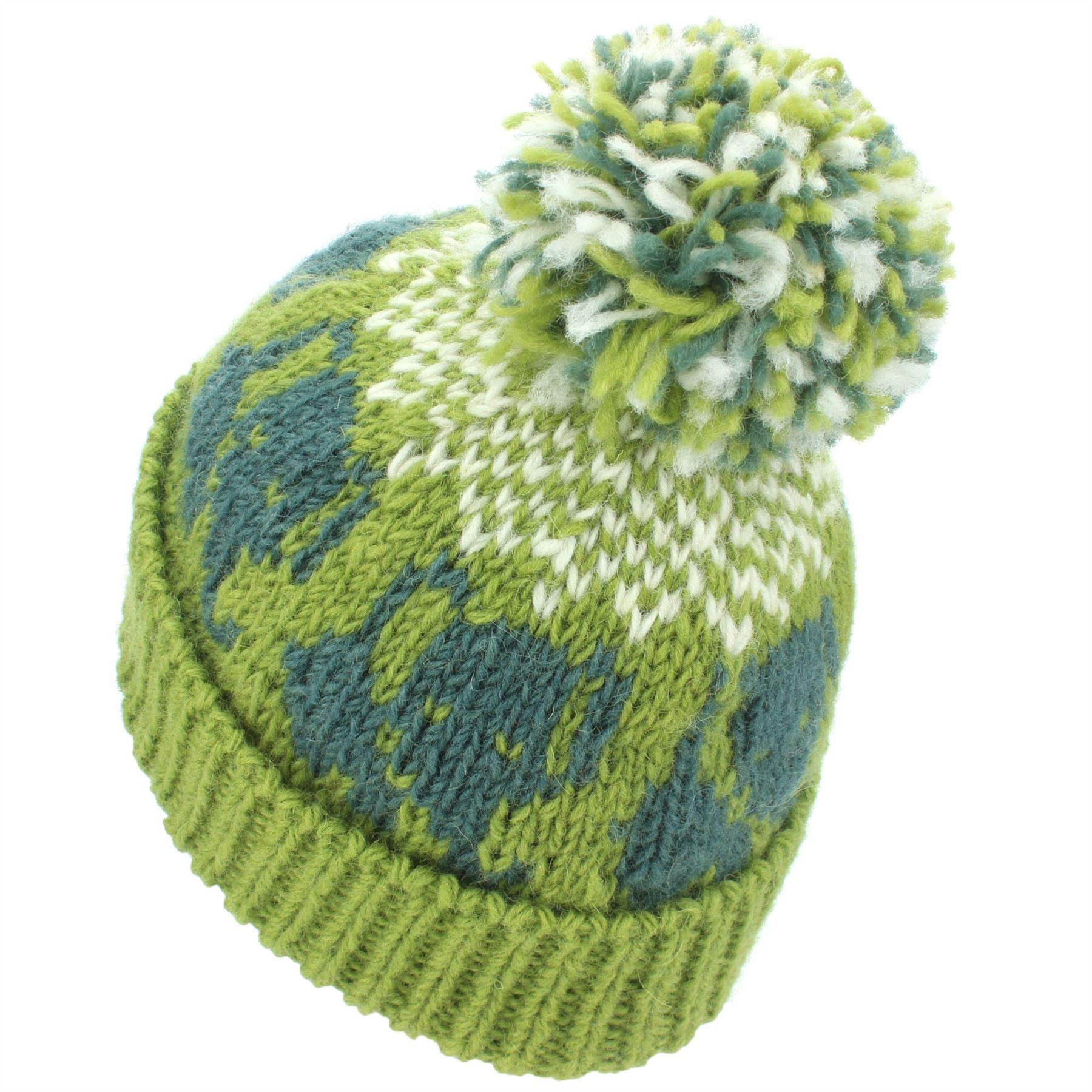 1ada2528e556 Wool Beanie Hat Bobble Knit Knitted ELEPHANT Lined Men Ladies Warm ...