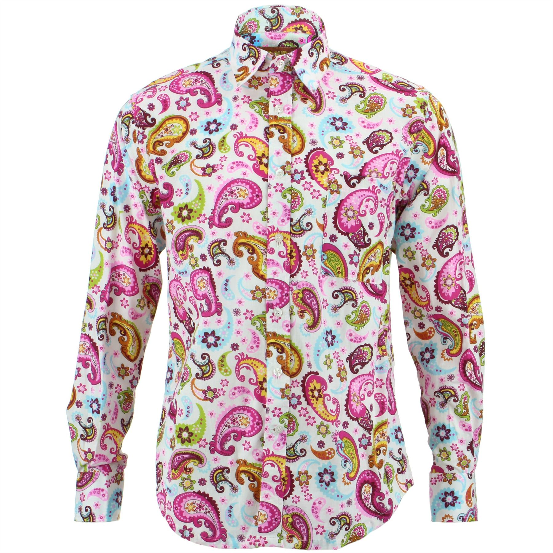 Mens Shirt Loud Originals REGULAR FIT Floral White Retro Psychedelic Fancy