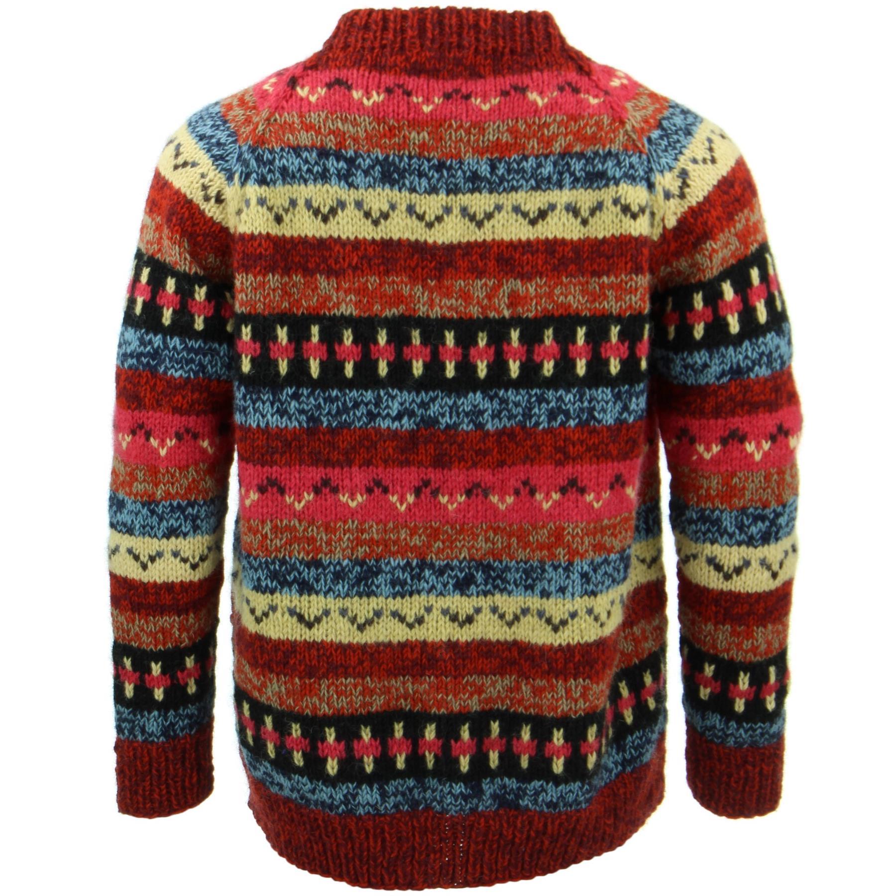 thumbnail 16 - Wool Knit Jumper Sweater Pullover Fairisle Nordic Abstract Warm Nepal Loose