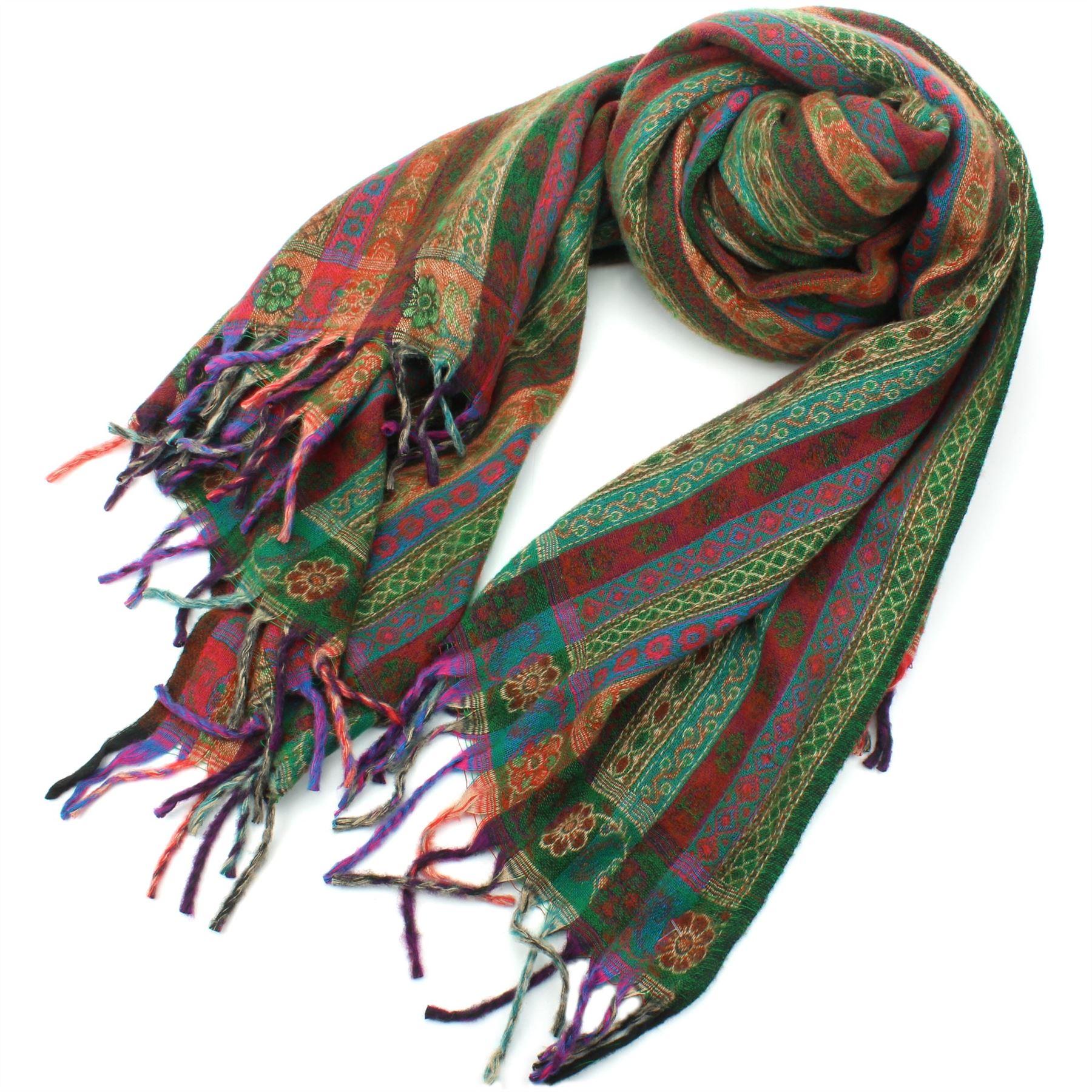 Acrylic-Wool-Blanket-Shawl-Wrap-Throw-Finest-Softest-India-Stripe-Paisley-Travel thumbnail 13