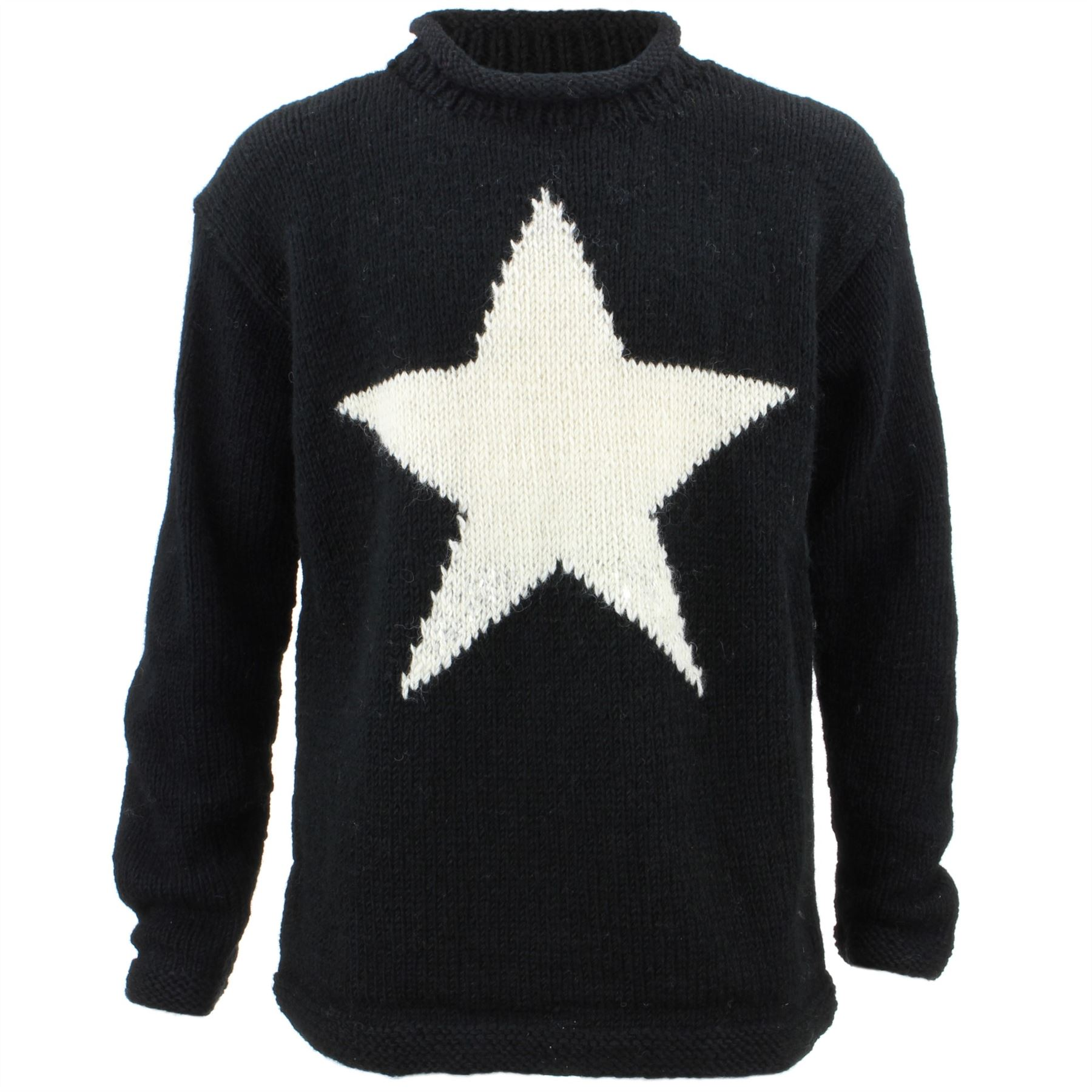 Details about Wool Jumper Star Chunky Knit Knitted Sweater Pullover Rolled  Crew Neck Black 89c29242f3a3