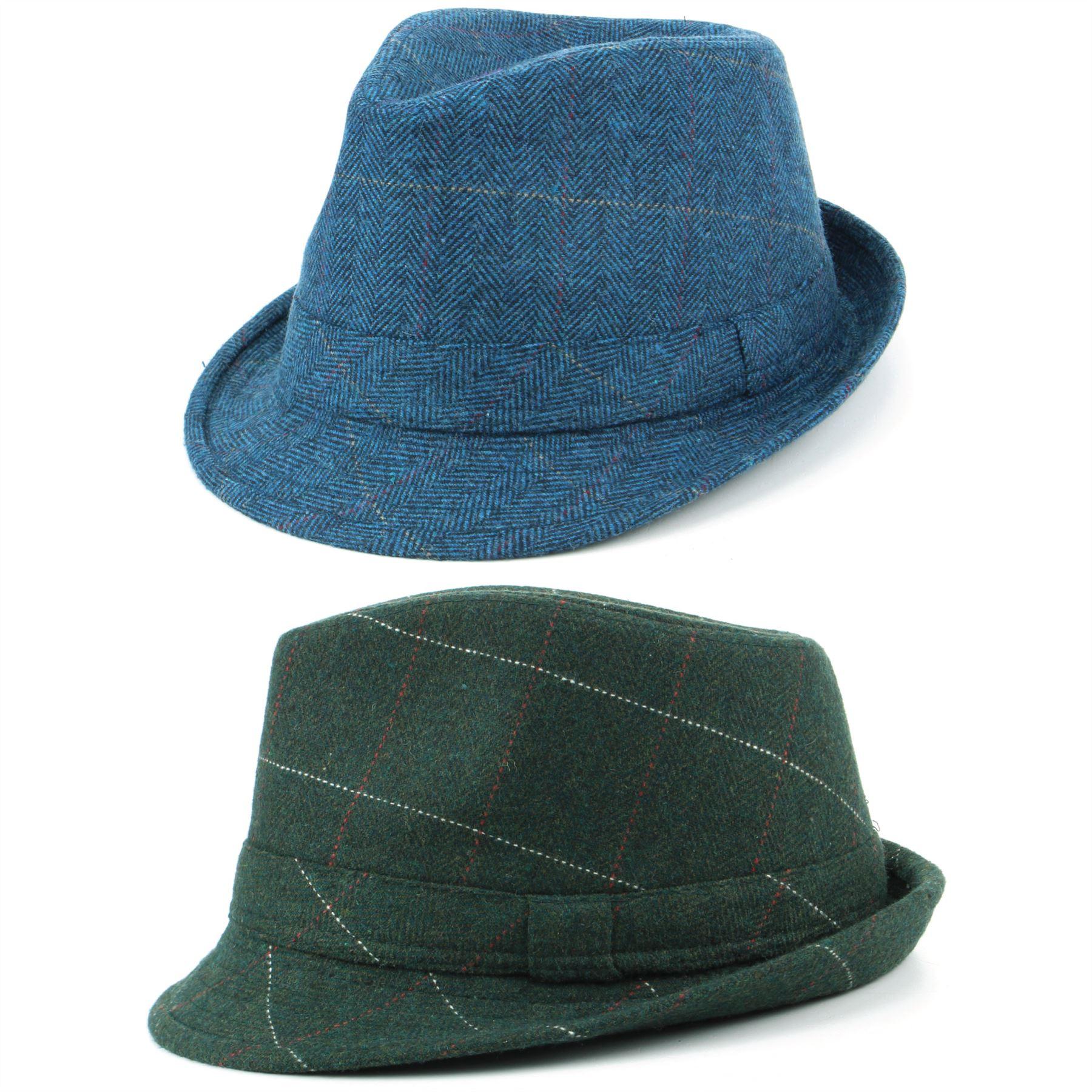 324f45c6d90cba Details about Tweed Trilby Fedora Hat BLUE GREEN Wool Hawkins Fabric  Herringbone Men Ladies