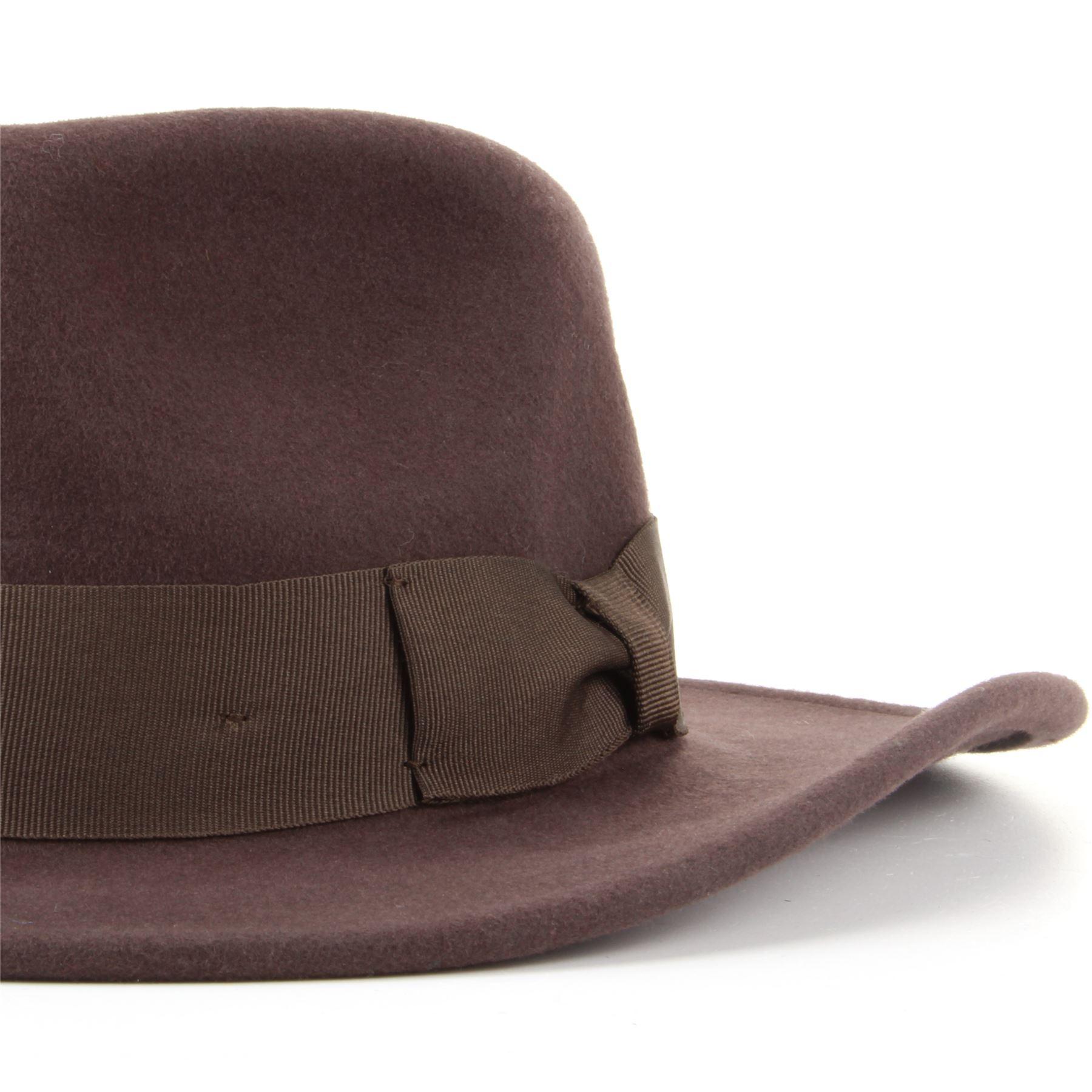 Wool Fedora Hat Hawkins Felt Cap Wide Brim Unisex Trilby Soft BLACK ... a96b7f23c654