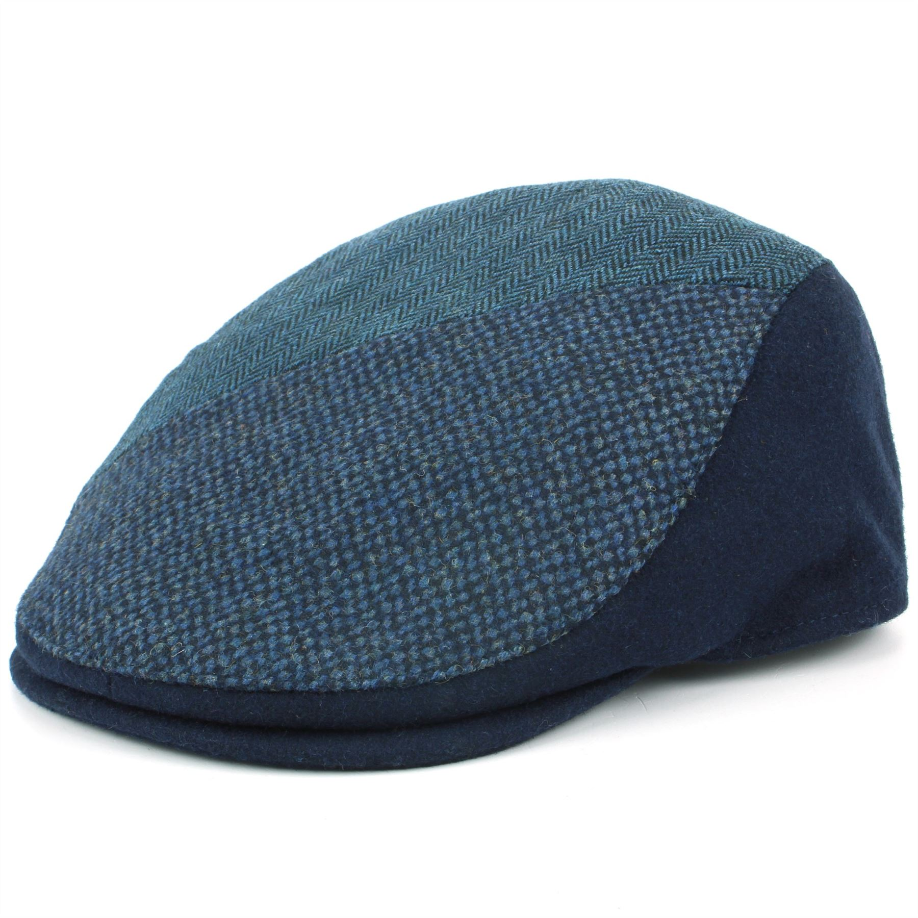 Tweed Flat Cap Hat BLUE GREEN Wool Hawkins Panel Fabric Patchwork ... d8105a859eb6