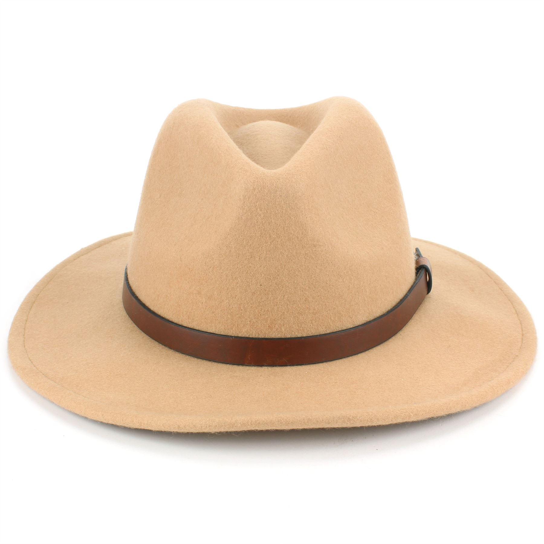 Fedora-Hat-Wool-Felt-Hawkins-Feather-Band-Trilby-Ladies-Men-Travel-Brim-Travel thumbnail 3
