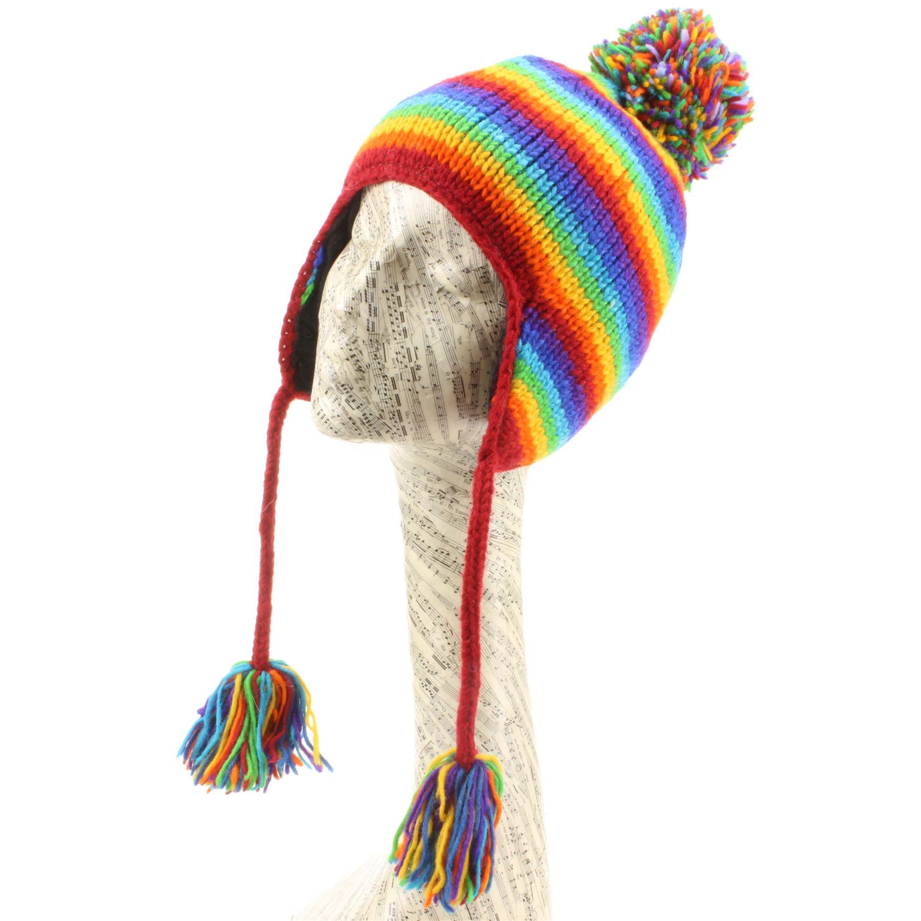 c8e9bbecd958 Details about Wool Earflap Hat Knit LOUDelephant Fleece Lined Winter Bobble  Beanie Ski STRIPE