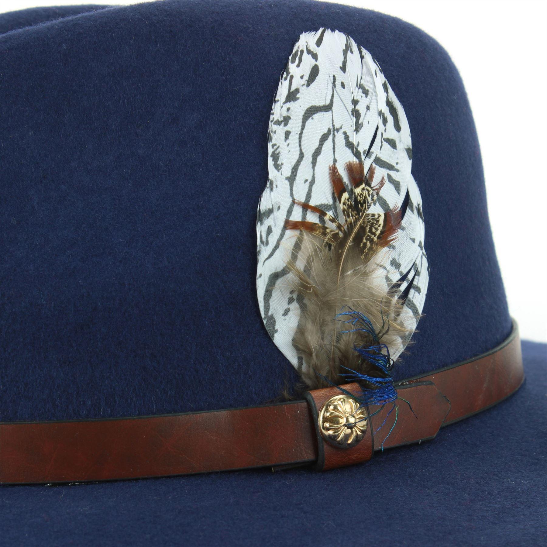 Fedora-Hat-Wool-Felt-Hawkins-Feather-Band-Trilby-Ladies-Men-Travel-Brim-Travel thumbnail 13