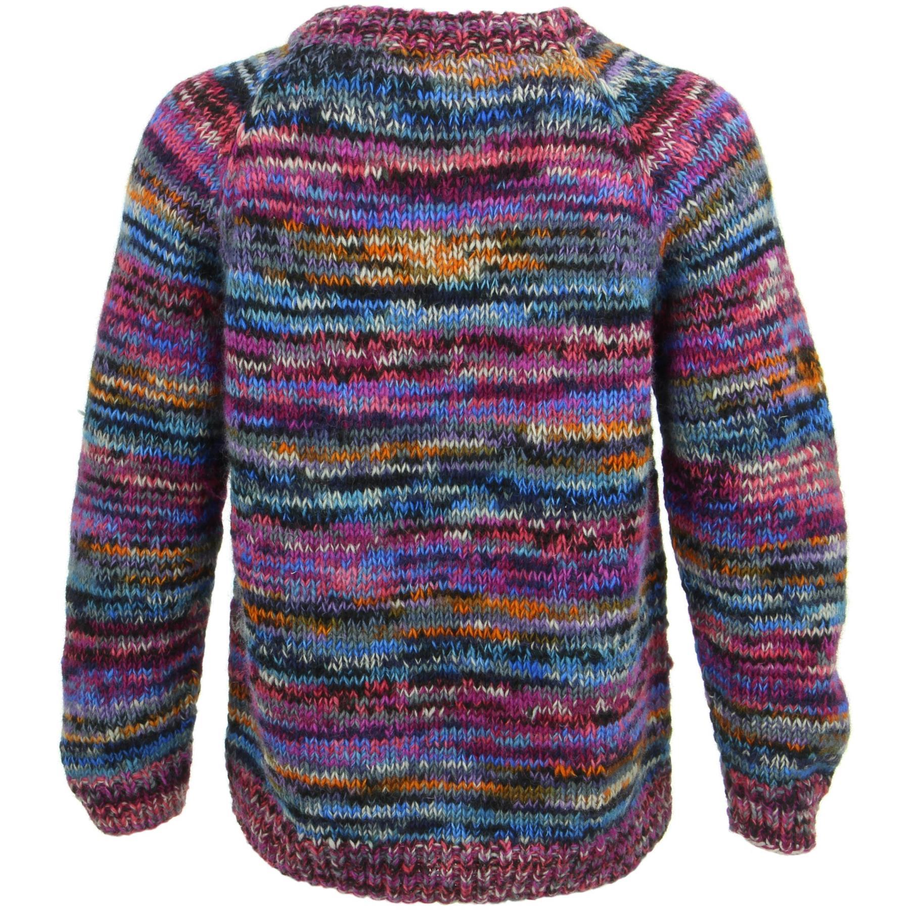 thumbnail 19 - Wool Knit Jumper Sweater Pullover Fairisle Nordic Abstract Warm Nepal Loose