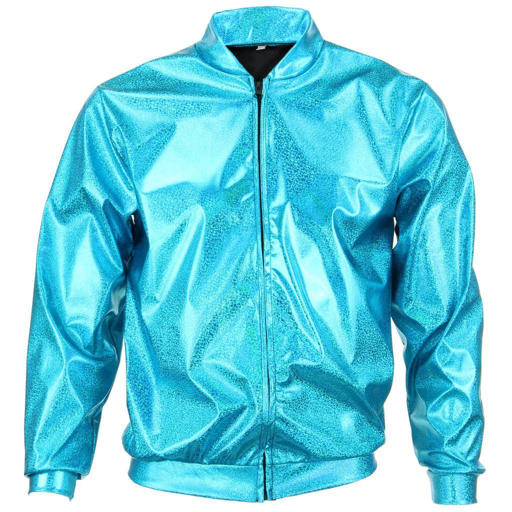 Bomber-Jacket-Shiny-Unisex-Ladies-Men-FIREFLY-Sparkly-GOLD-SILVER-RAINBOW-PURPLE thumbnail 4
