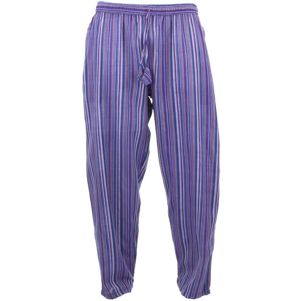 Grey Yoga Pant Hippie Striped Side Pocket Pajamas Pants S/M |Hippie Striped Pants