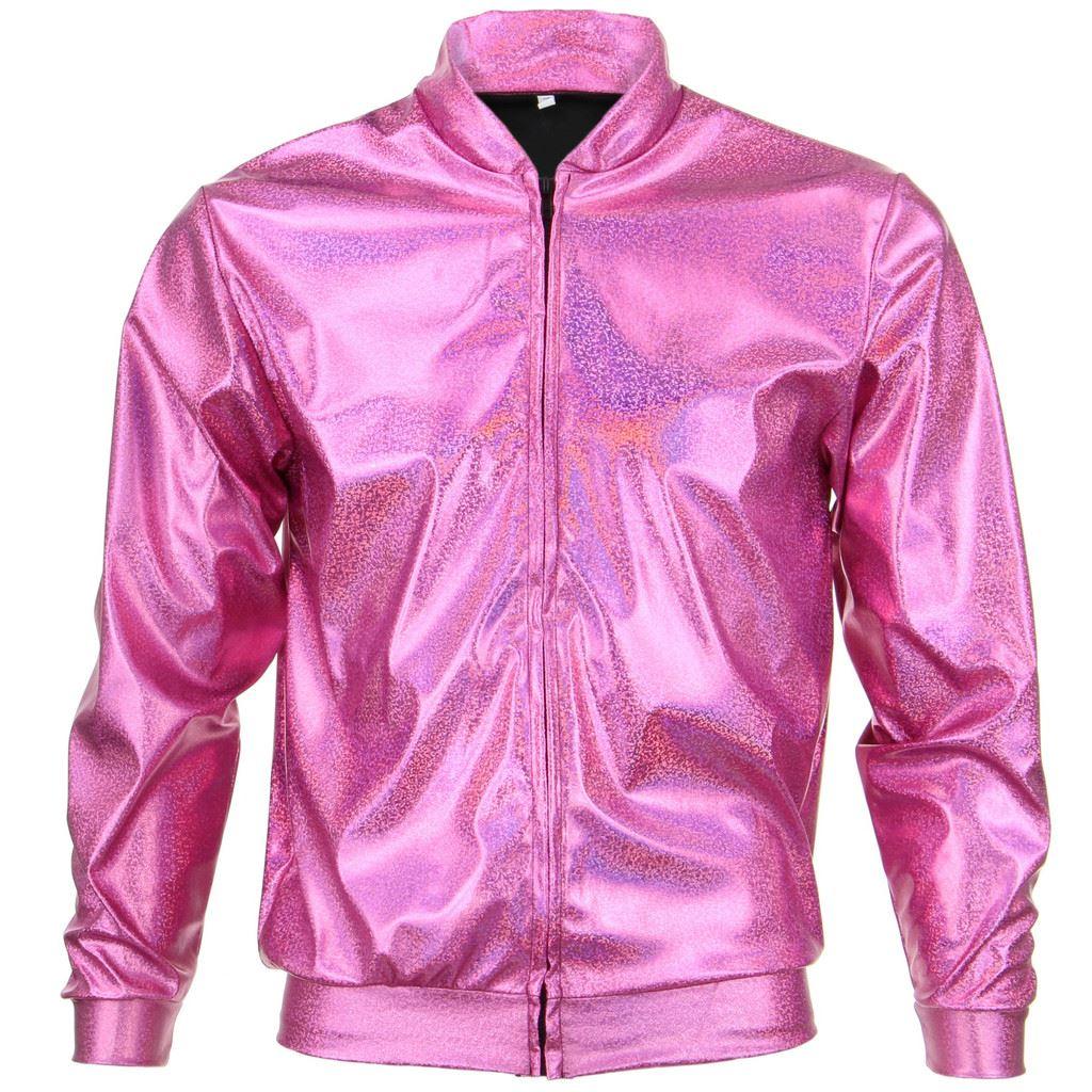 Bomber-Jacket-Shiny-Unisex-Ladies-Men-FIREFLY-Sparkly-GOLD-SILVER-RAINBOW-PURPLE thumbnail 14