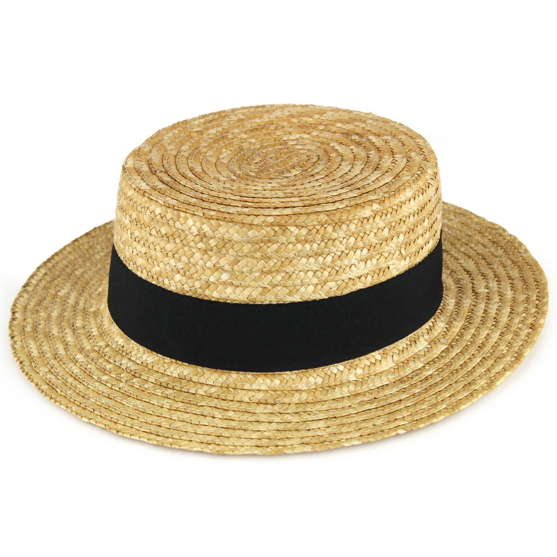 538b6e8e3f2 Straw Boater Hat Sailor Skimmer BLACK Band Hawkins Summer Sun Cap
