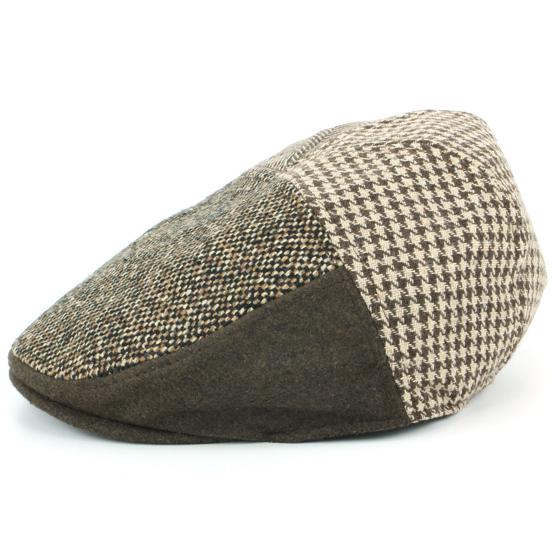 Tweed Flat Cap Hat BLACK BROWN Wool Hawkins Panel Fabric Patchwork ... ef939f76b8c4