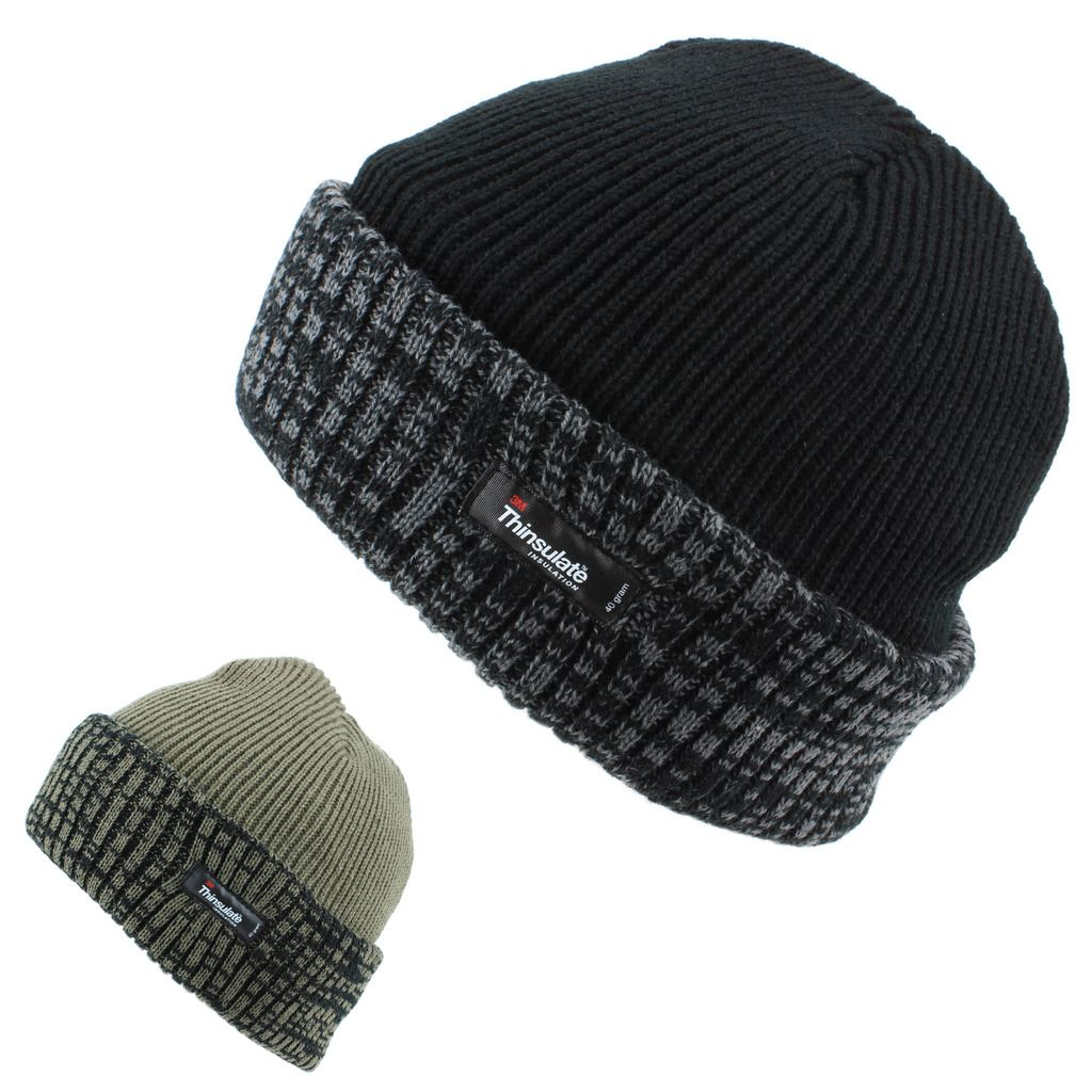 ff49880745520 Ribbed beanie hat featuring a 3M Thinsulate fleece lining and a 2-tone  turn-up brim. Warm winter hat suitable for all adult head sizes.