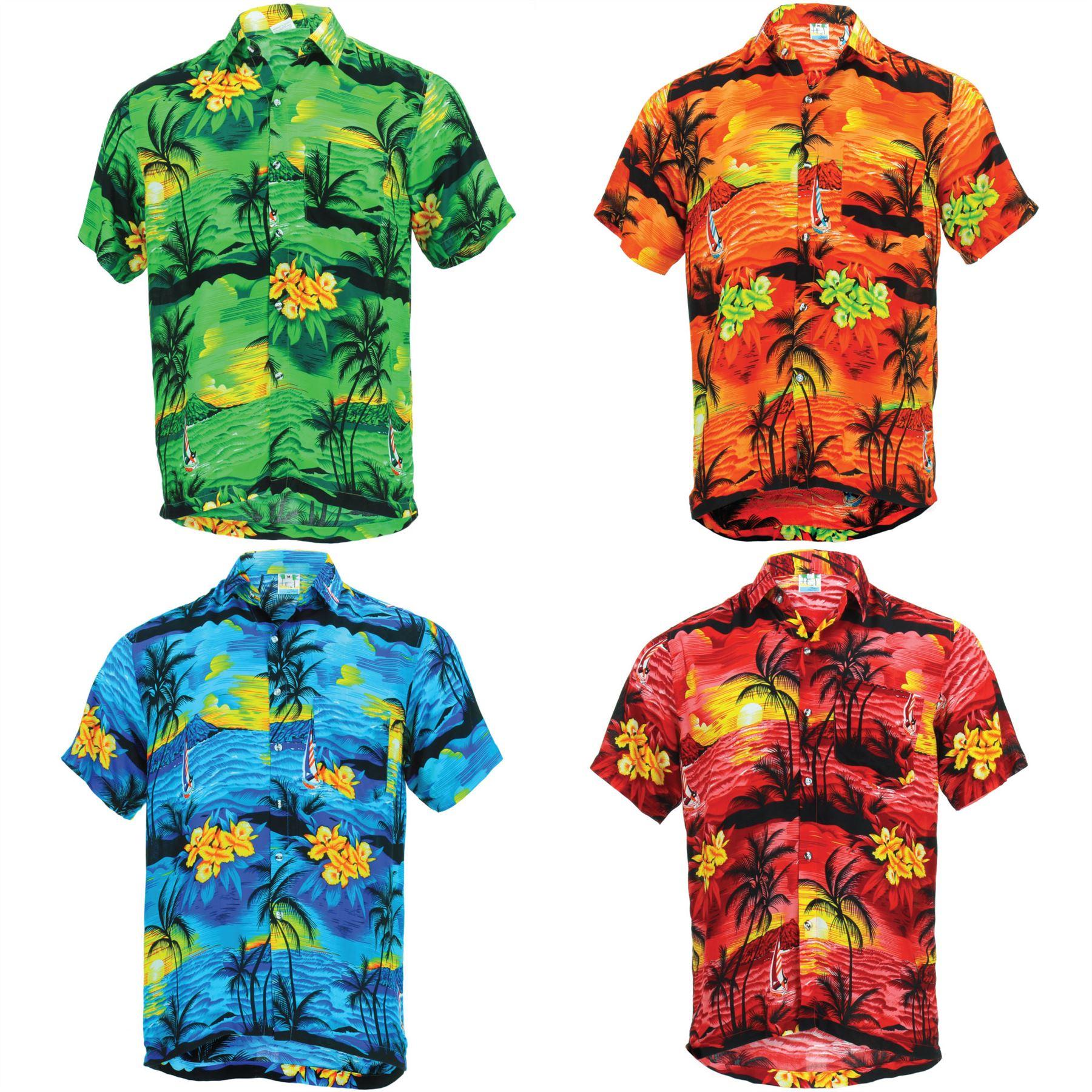 8e3bf39a6 Camisa Hawaiana Hombre Manga Corta Palmeras Fiesta Aloha
