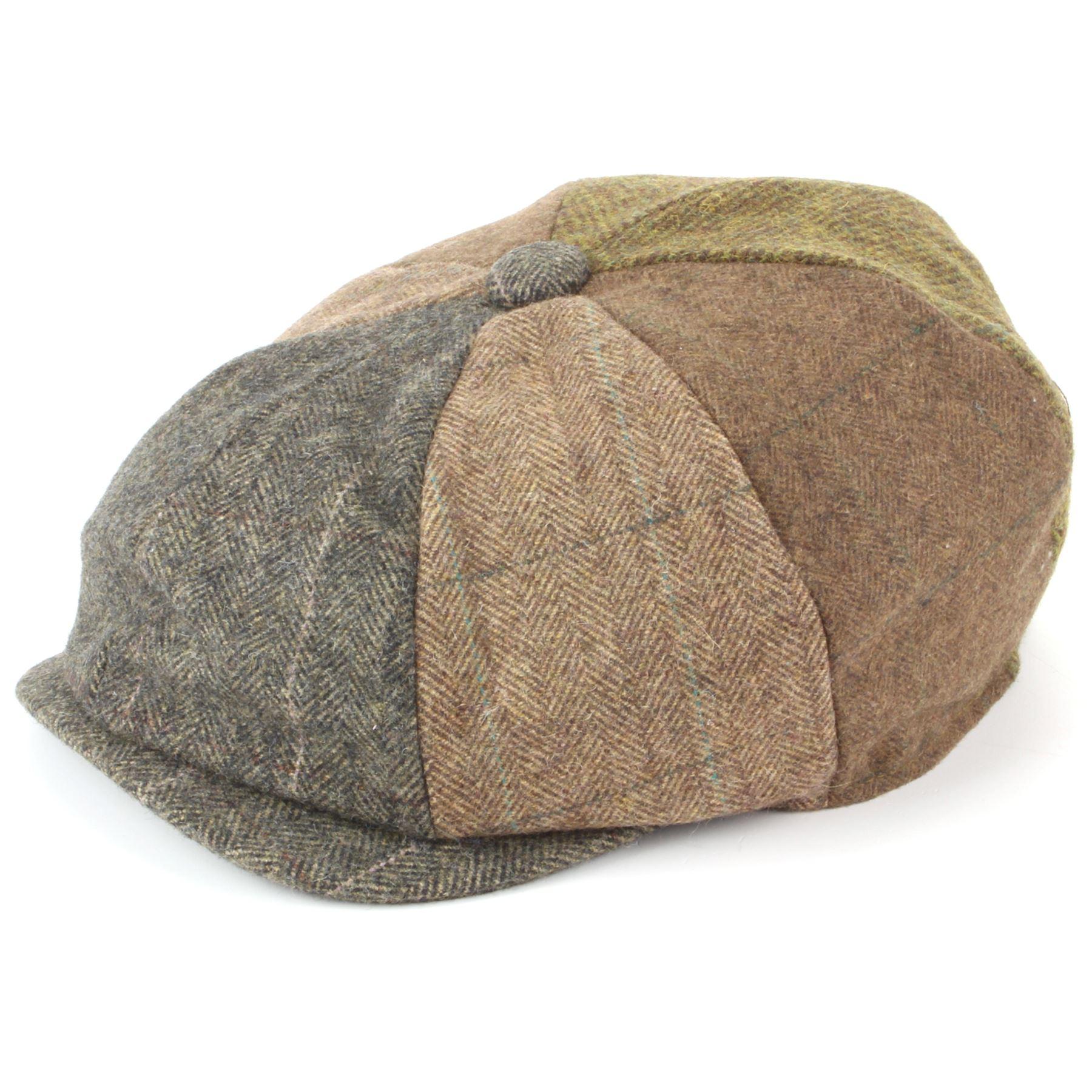 Hawkins Patchwork Tweed Newsboy Gatsby 8 Panel Flat Cap Hat - Brown ... 621c81d3b1d3