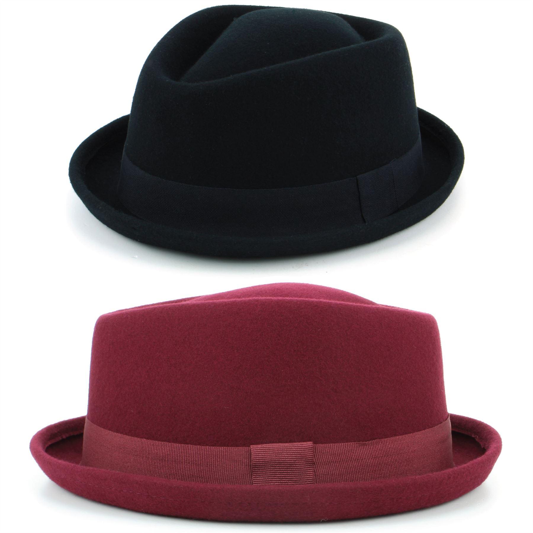 Details about Hat Porkpie Pork Pie Wool BLACK RED Trilby Unisex Diamond  Crown Retro Hawkins 10514e1b7209
