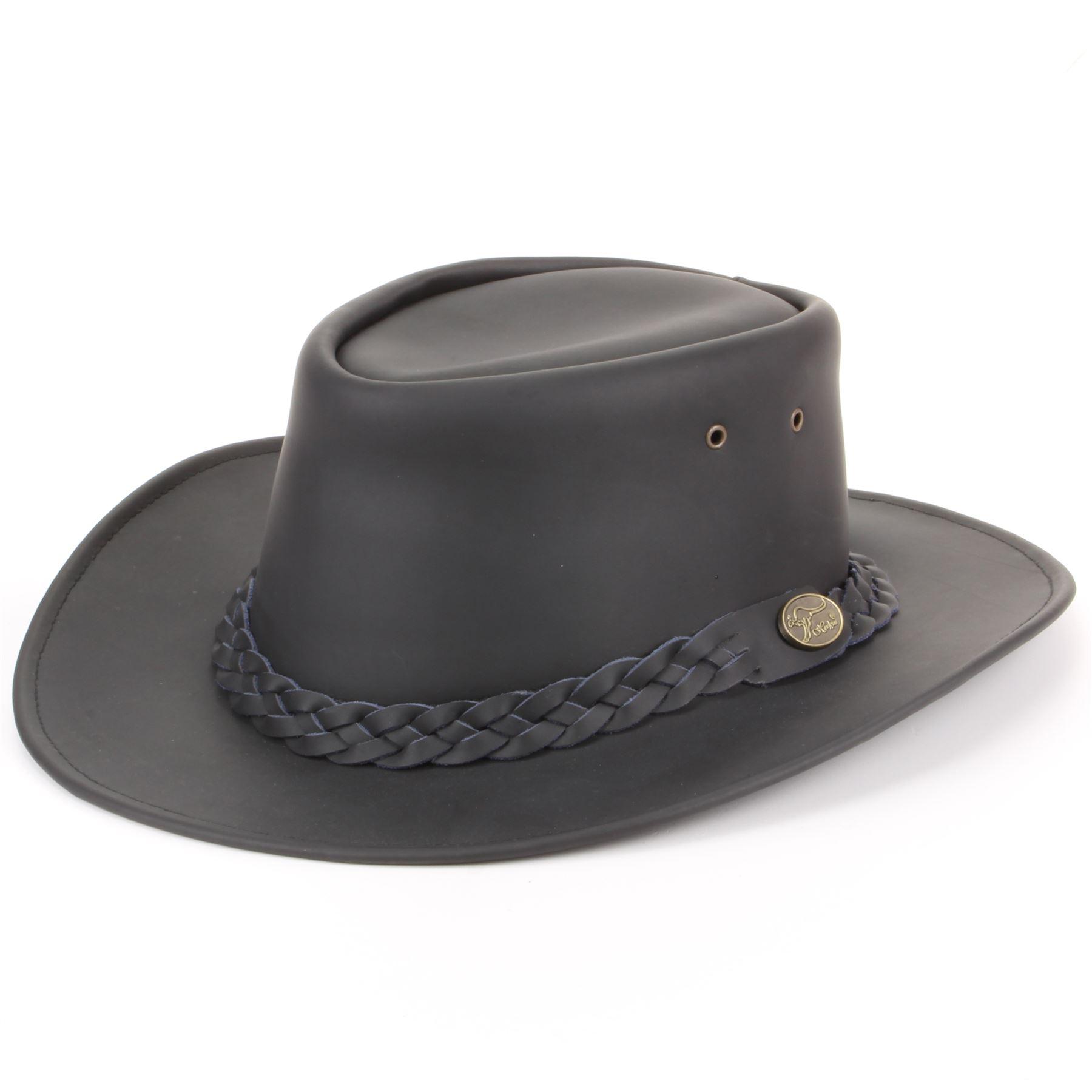 e4154a9a1cc5d Sombrero de Cowboy Australiano Bush Sombrero Piel Auténtica Negra ...