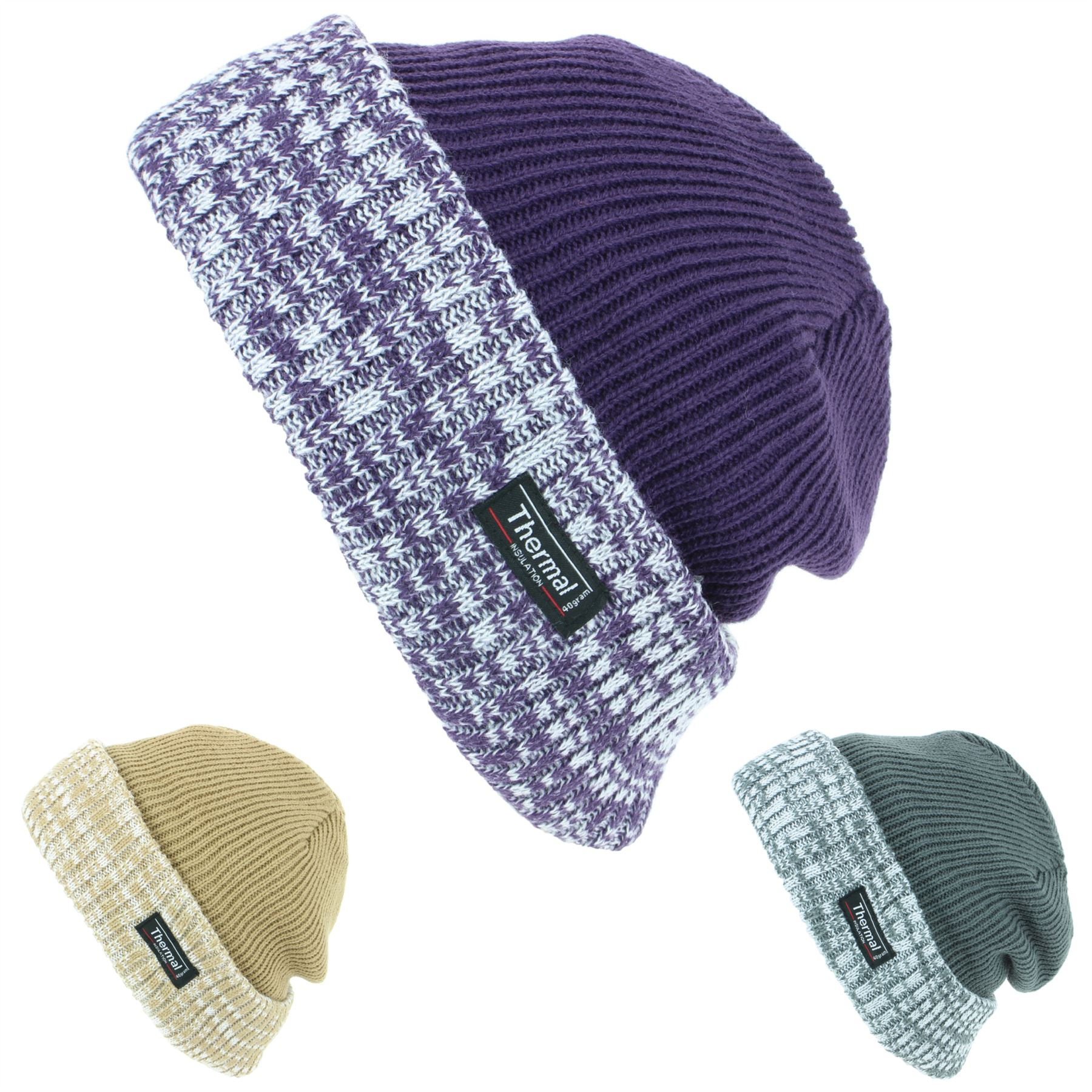 9f2857d345670 Ribbed knit beanie hat with a turned up marl brim and 3M Thinsulate thermal  lining.