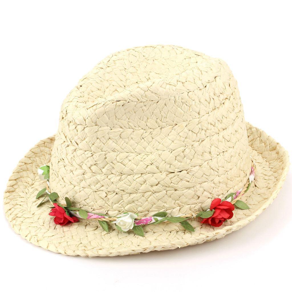 bd2602313 Details about Trilby Hat Straw Fedora Cap Ladies Unisex Brim Travel Hawkins  FLOWER GARLAND