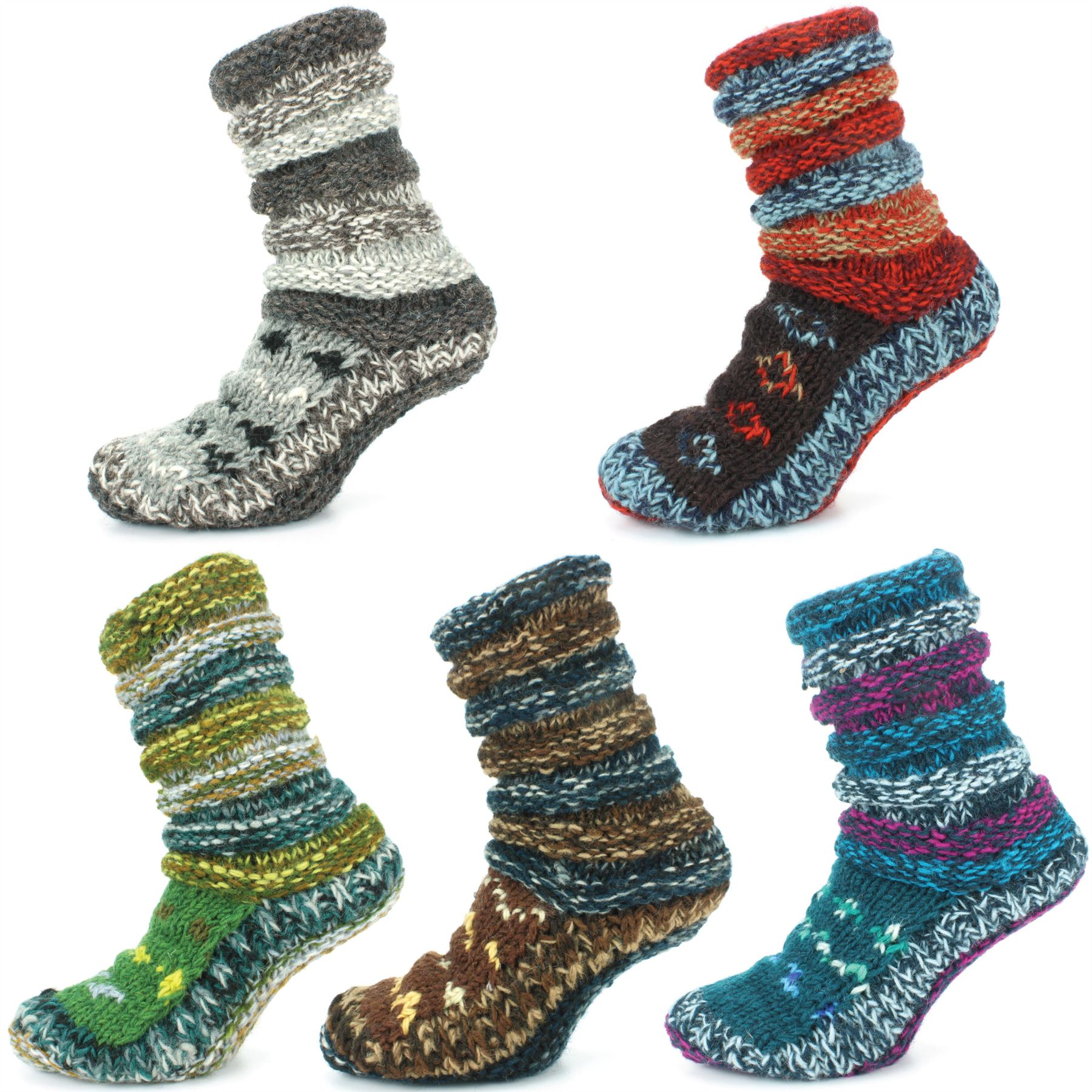 Wool Socks Chunky Knit Knitted Fleece Lined Abstract Bed Slipper