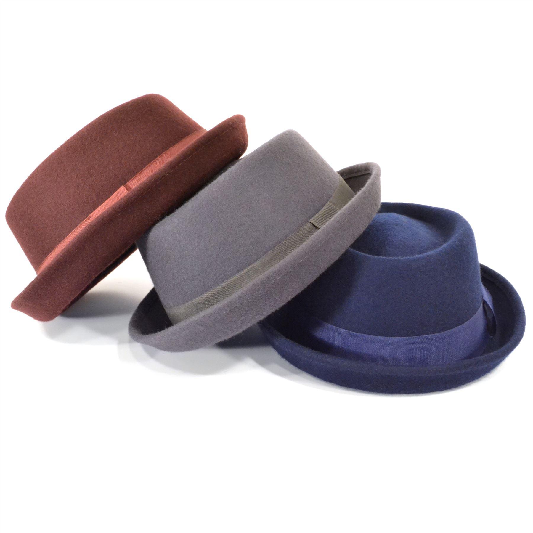 f705e0349eaa0 Details about Porkpie Pork Pie Hat Trilby Wool Felt Unisex Fedora Jazz  unisex BLUE GREY MAROON