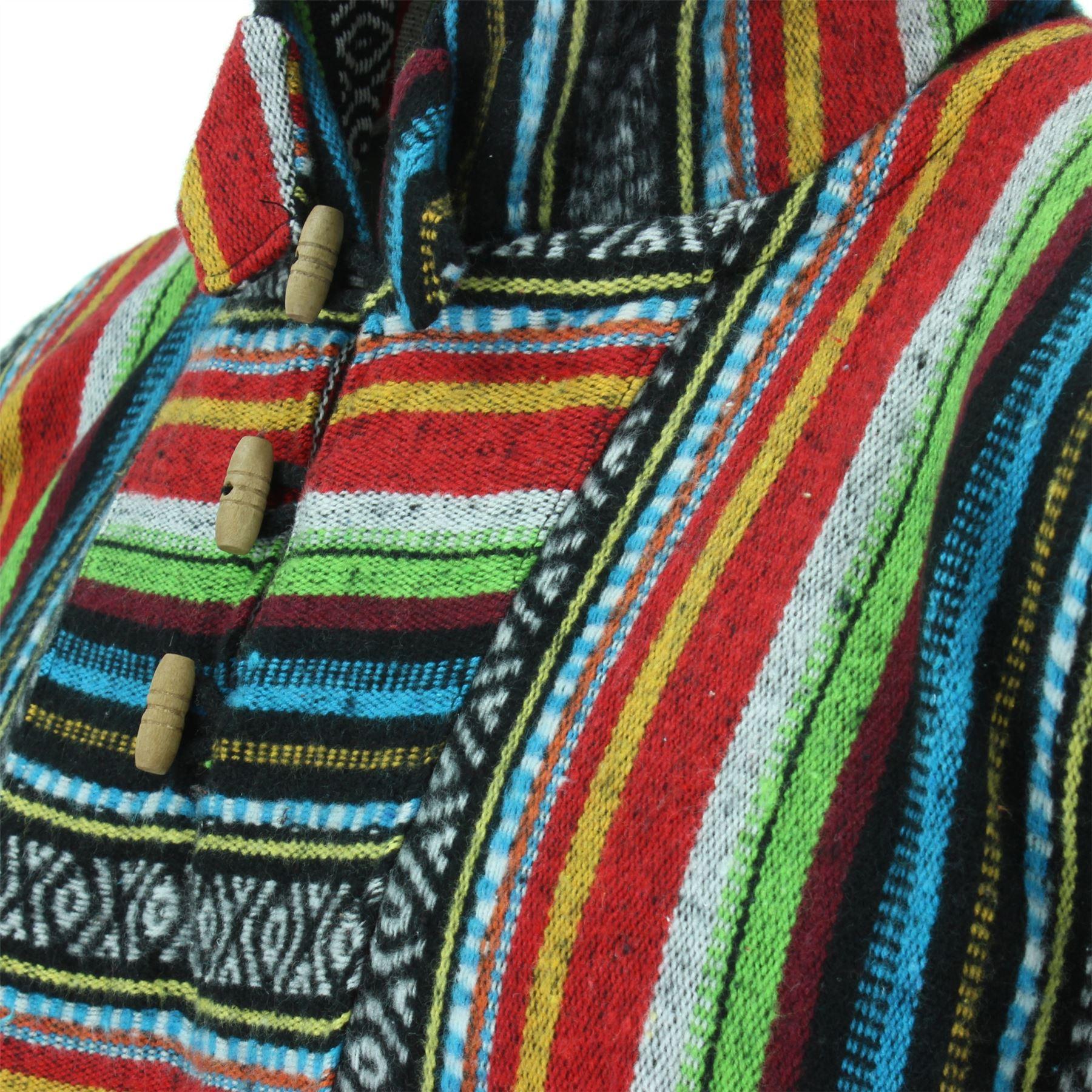 Poncho-Hooded-Cape-Cotton-Warm-Festival-Long-Woven-Rainbow-Men-Women thumbnail 9
