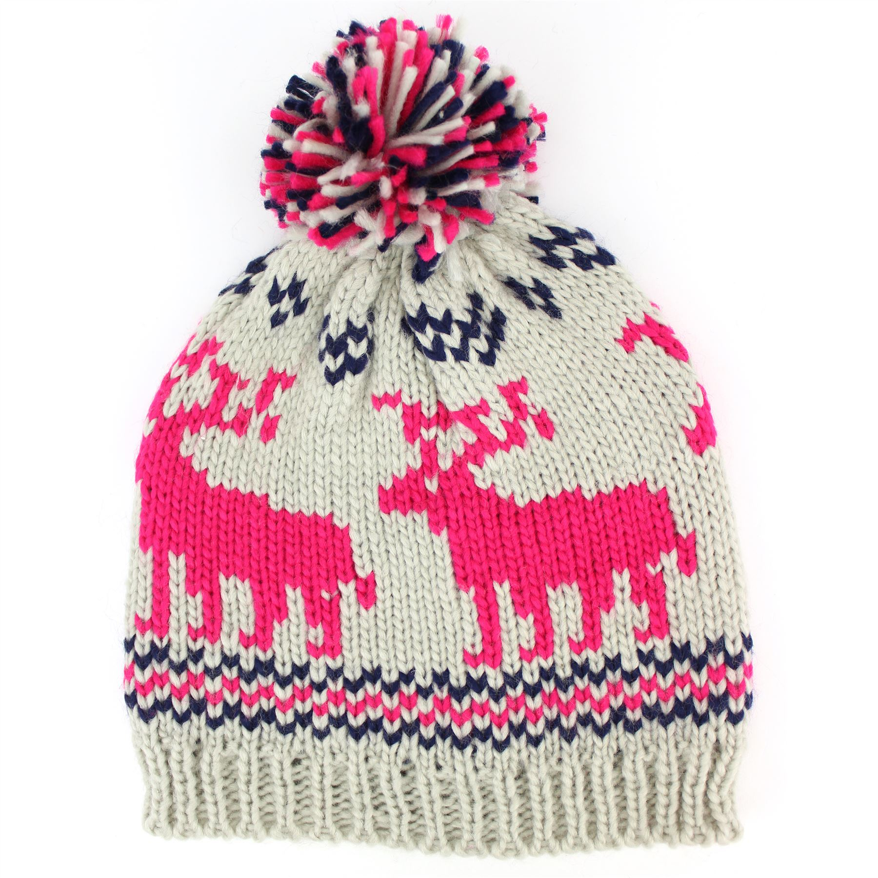 Beanie Bobble Hat Chunky Knit Reindeer Christmas Cap Hawkins Mens ...
