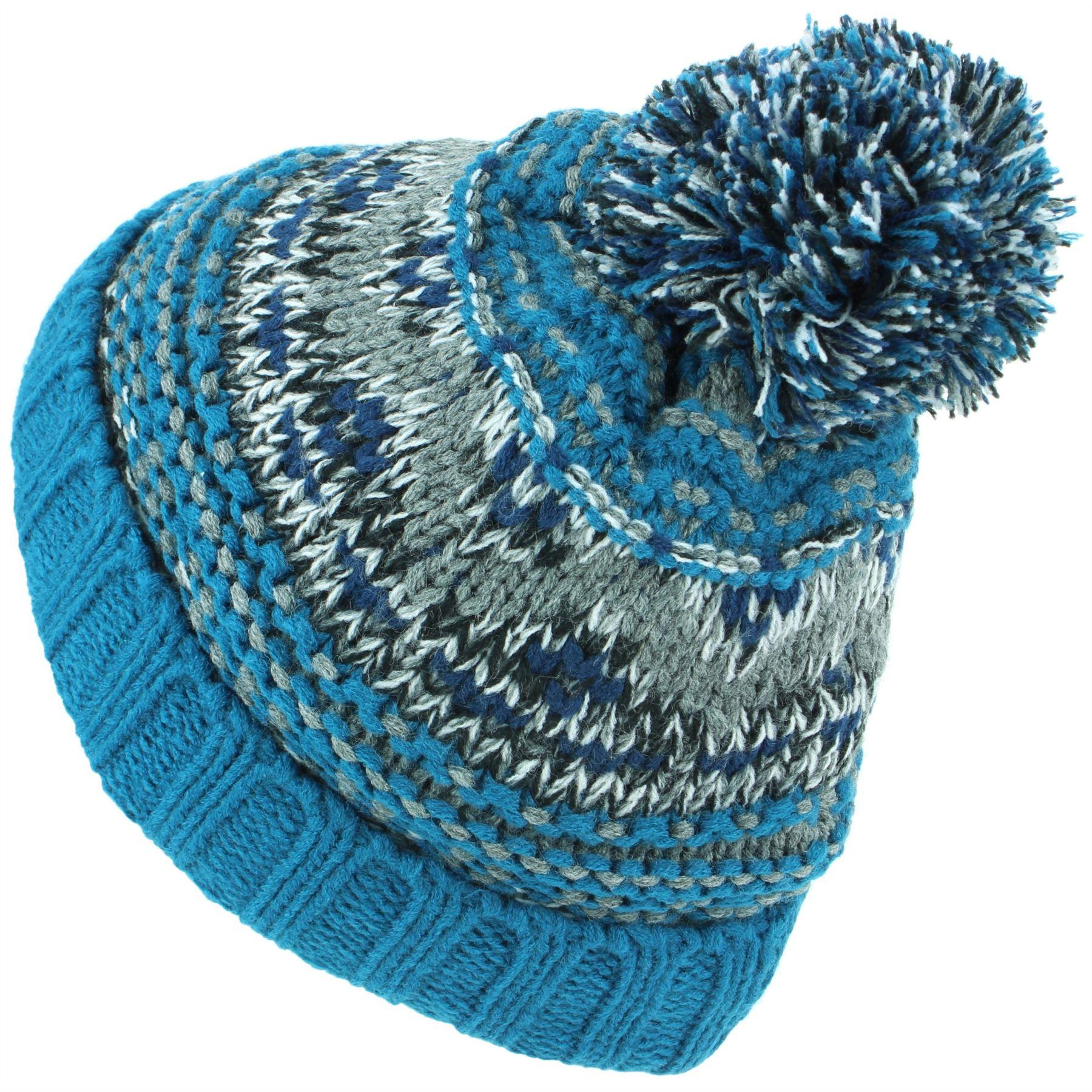 5f55e78f767 Beanie Hat Cap Warm Winter Fairisle Childrens Soft Chunky Bobble ...