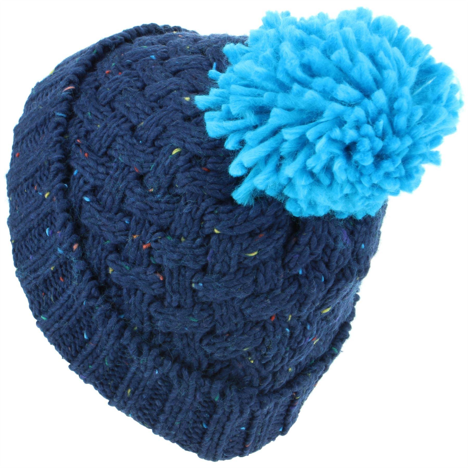 9d9ff62ed359bd Beanie Hat Cap Warm Winter NAVY GREEN Childrens Soft Chunky Bobble ...
