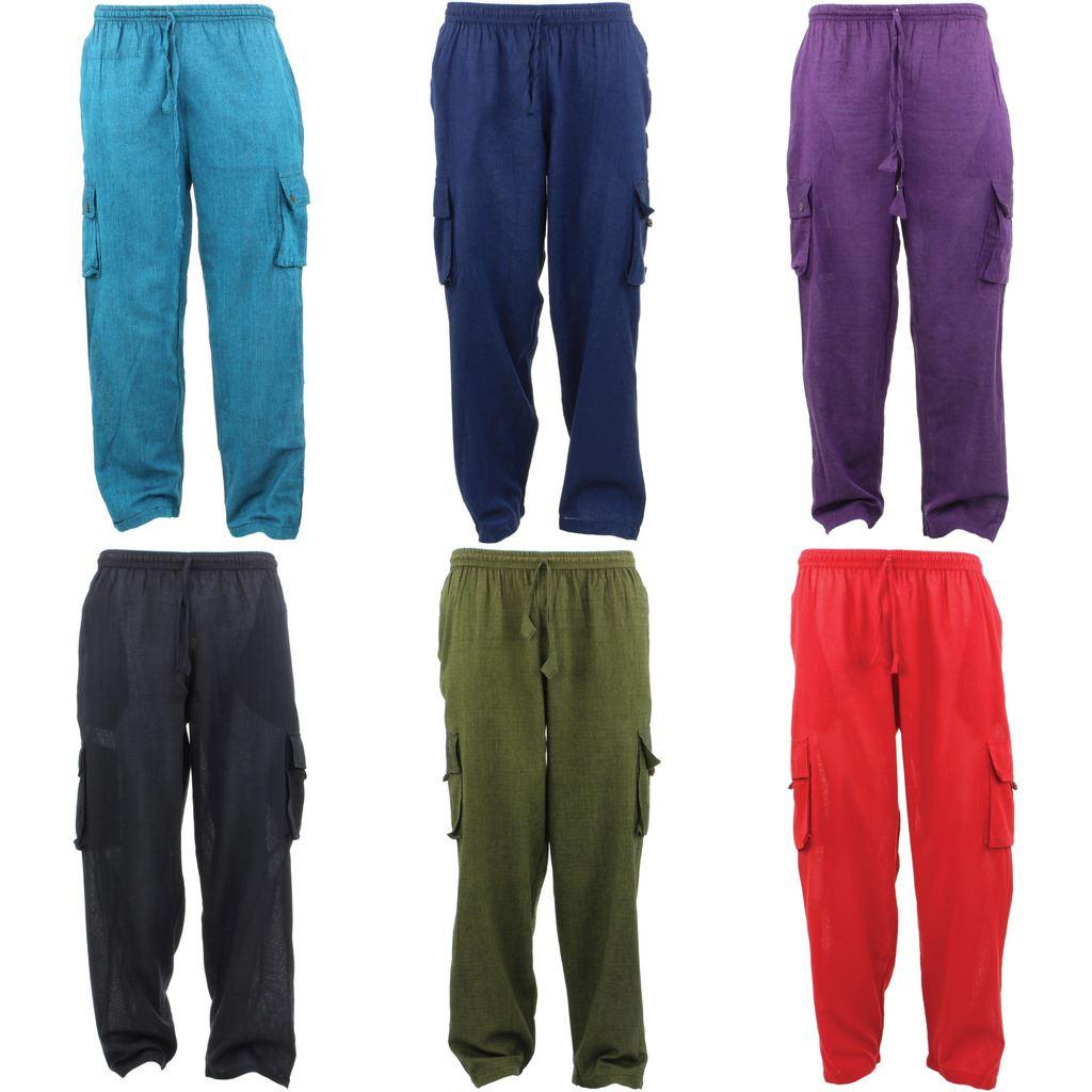 Cotton Combat Trousers Pant Elastic Pockets Loose Light Nepal