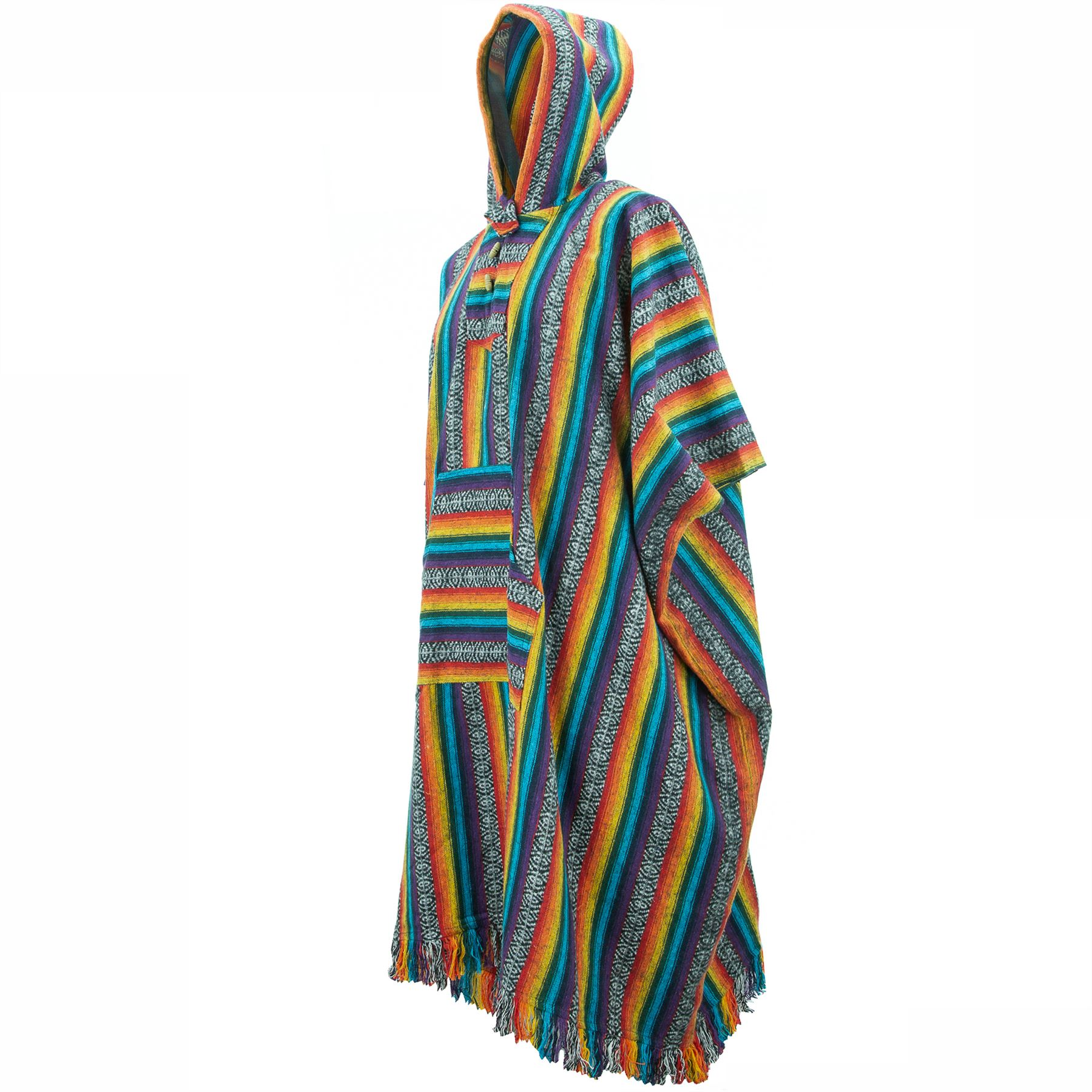 Poncho-Hooded-Cape-Cotton-Warm-Festival-Long-Woven-Rainbow-Men-Women thumbnail 16
