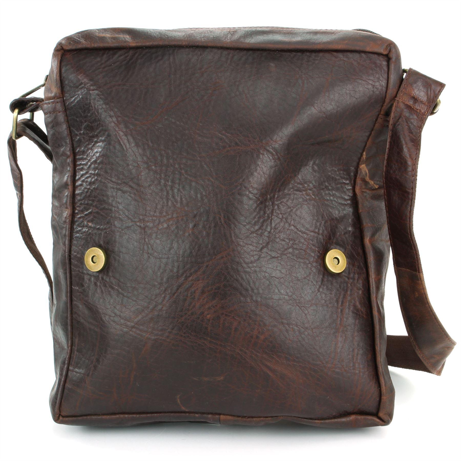 Leather Shoulder Bag Handbag Ladies Men BROWN Real Messenger Satchel ... 29955c7dd80