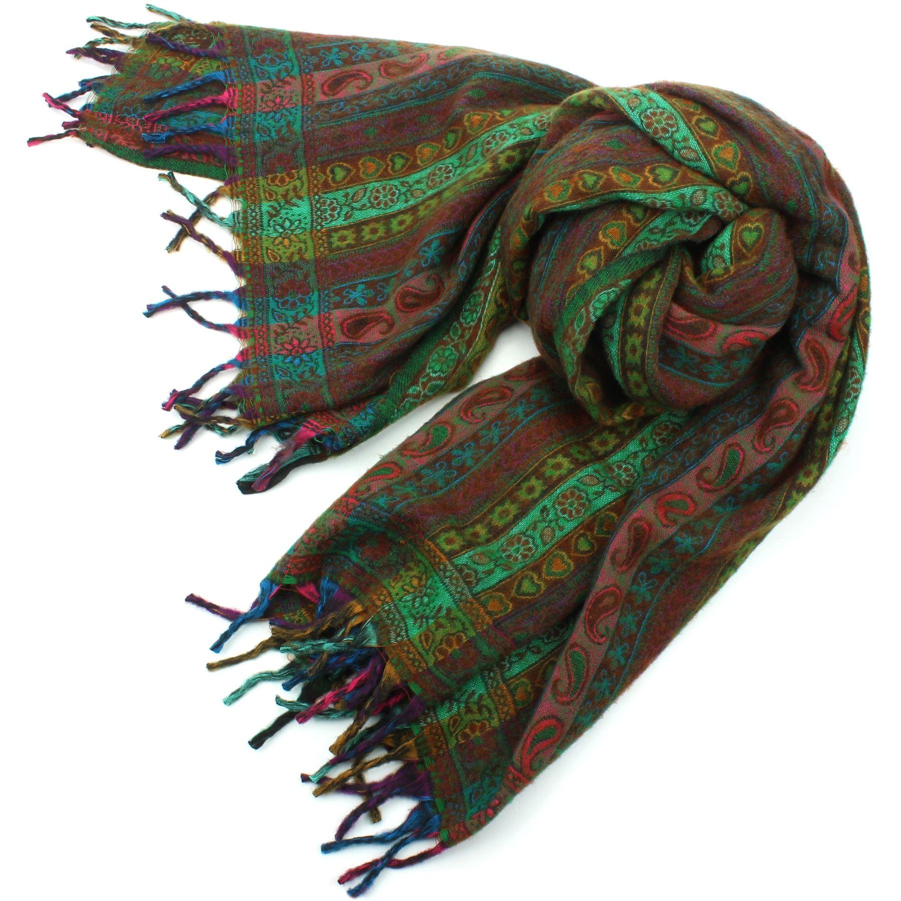 Acrylic-Wool-Blanket-Shawl-Wrap-Throw-Finest-Softest-India-Stripe-Paisley-Travel thumbnail 17