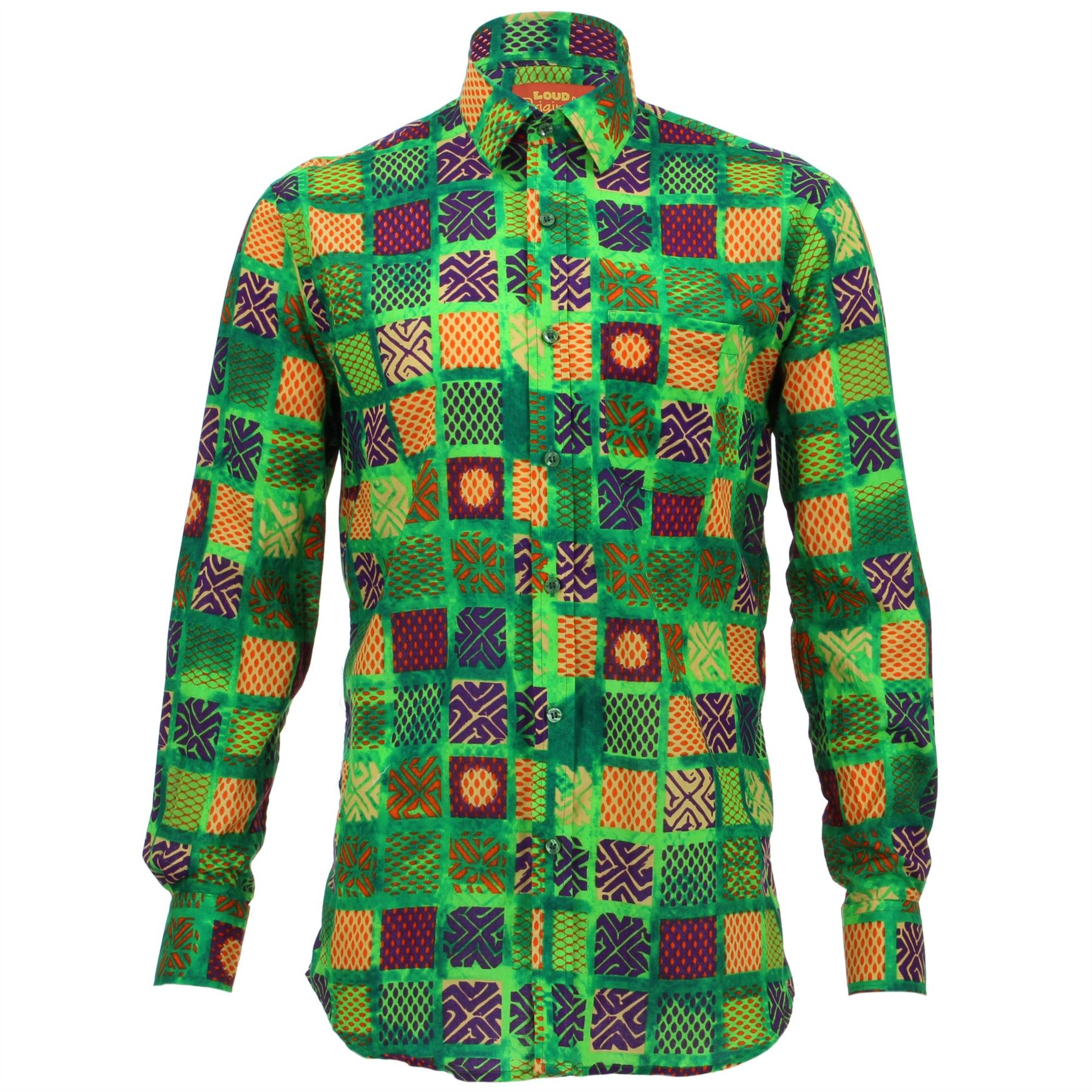 Mens Loud Shirt Retro Psychedelic Festival Party Funky Abstract Pink REGULAR