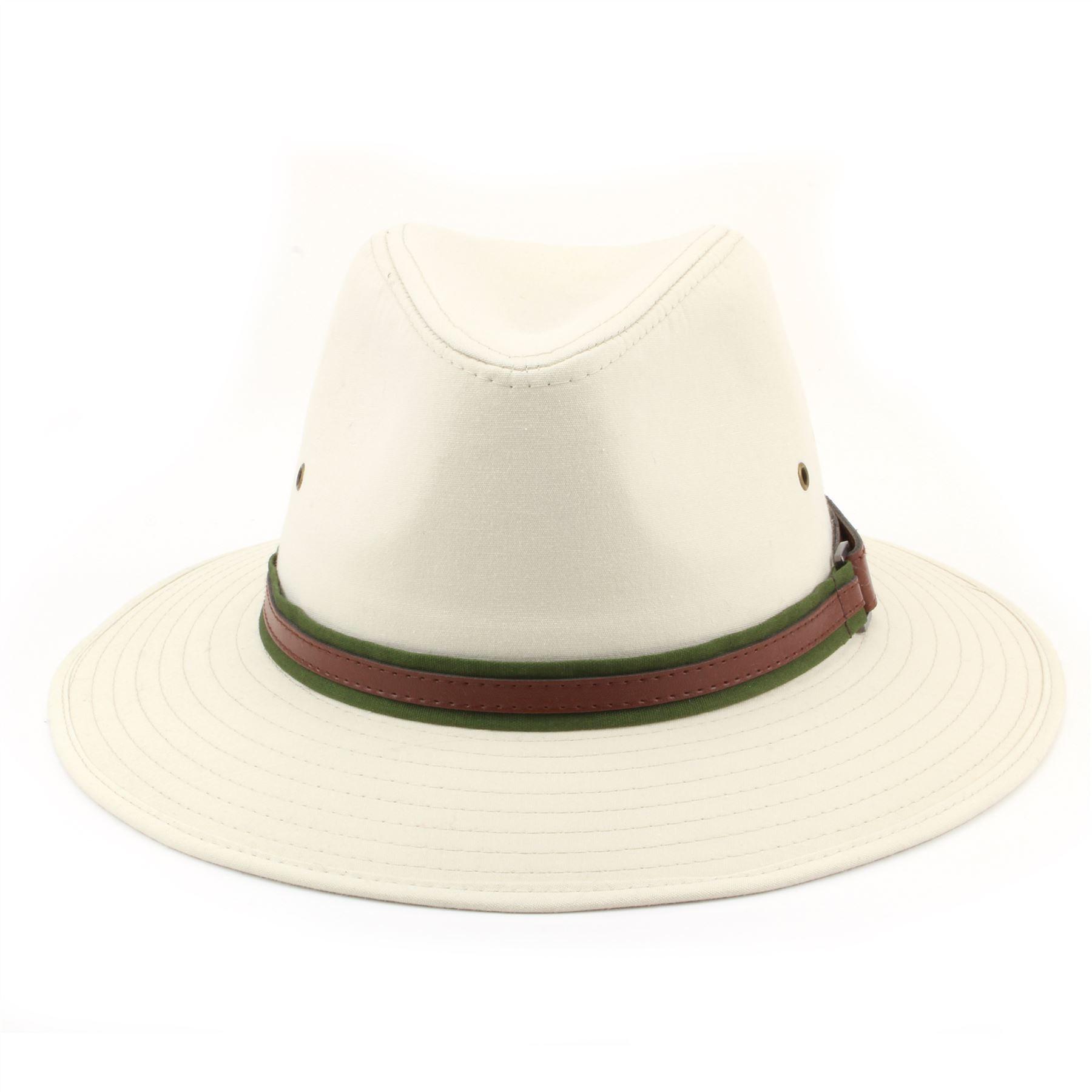 4e6e1bac694a90 Fedora Hat Cotton Hawkins Wide Brim Band BEIGE WHITE 4 Sizes Trilby ...