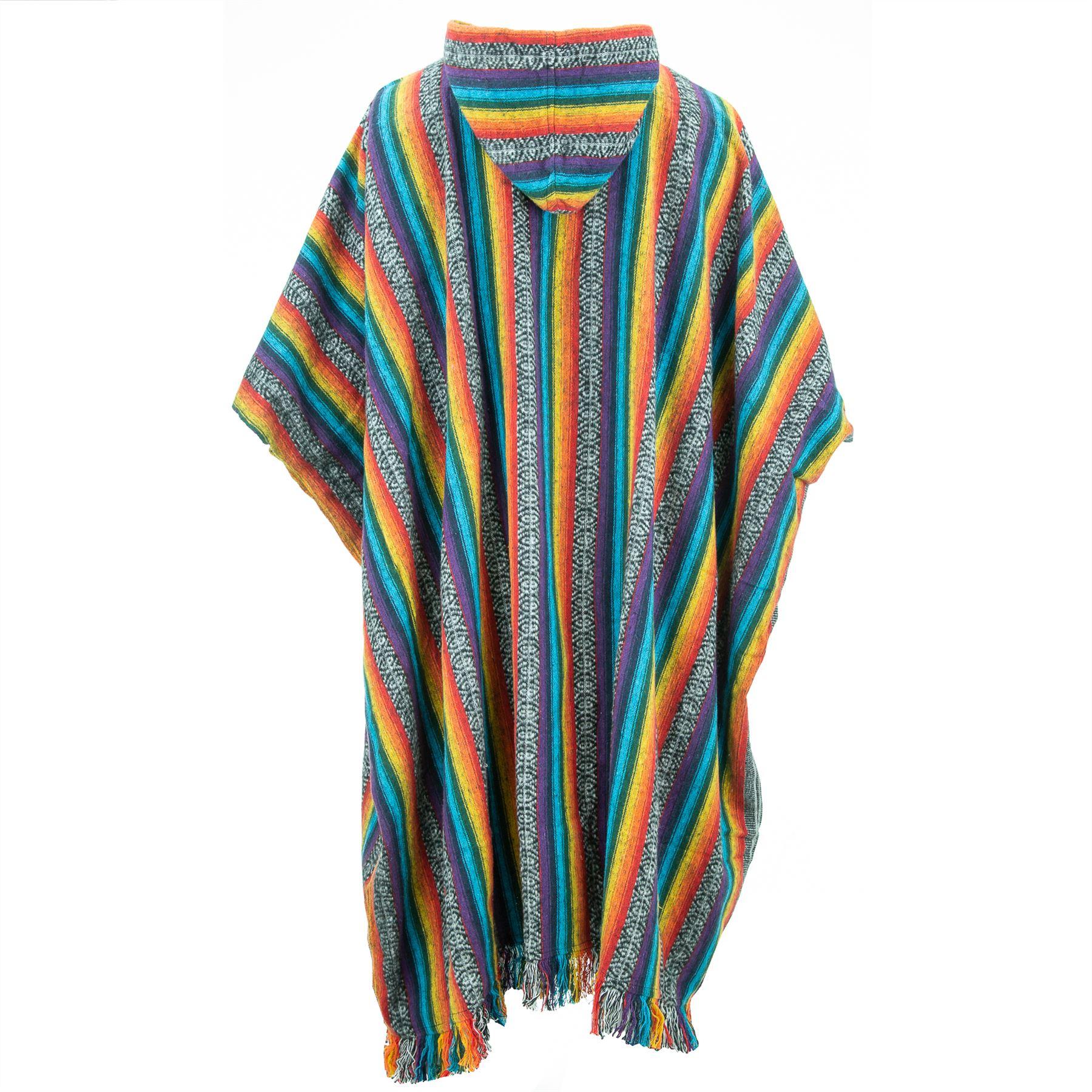 Poncho-Hooded-Cape-Cotton-Warm-Festival-Long-Woven-Rainbow-Men-Women thumbnail 15