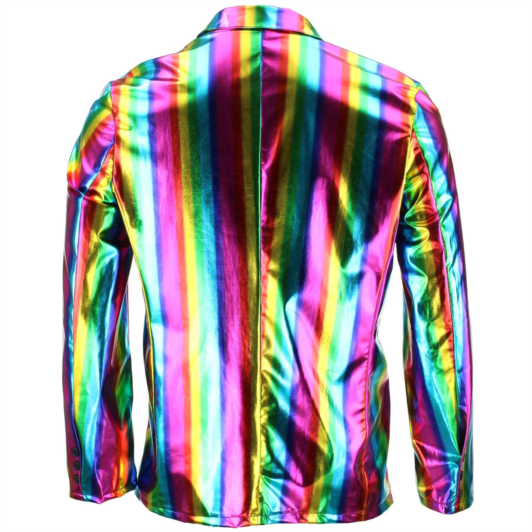 Shiny-Metallic-Blazer-Firefly-Waistcoat-Party-Dressing-up thumbnail 6
