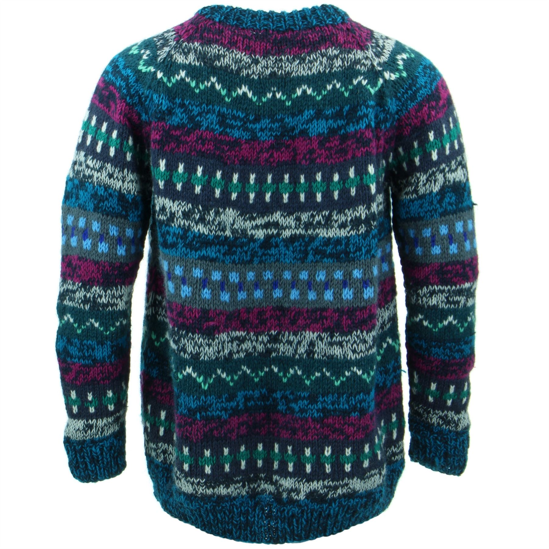 Wool-Jumper-ABSTRACT-Chunky-Knit-Knitted-Sweater-Pullover-Raglan-Crew-Neck thumbnail 3