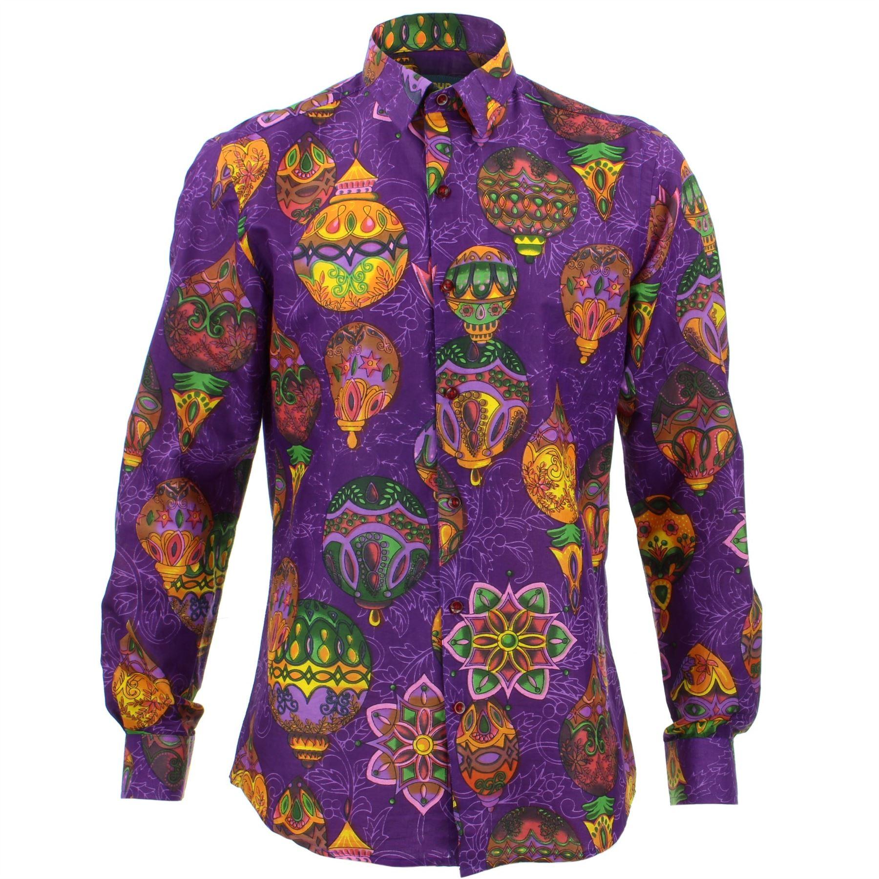 Mens Shirt Loud Originals SLIM FIT Flowers Purple Retro Psychedelic Fancy