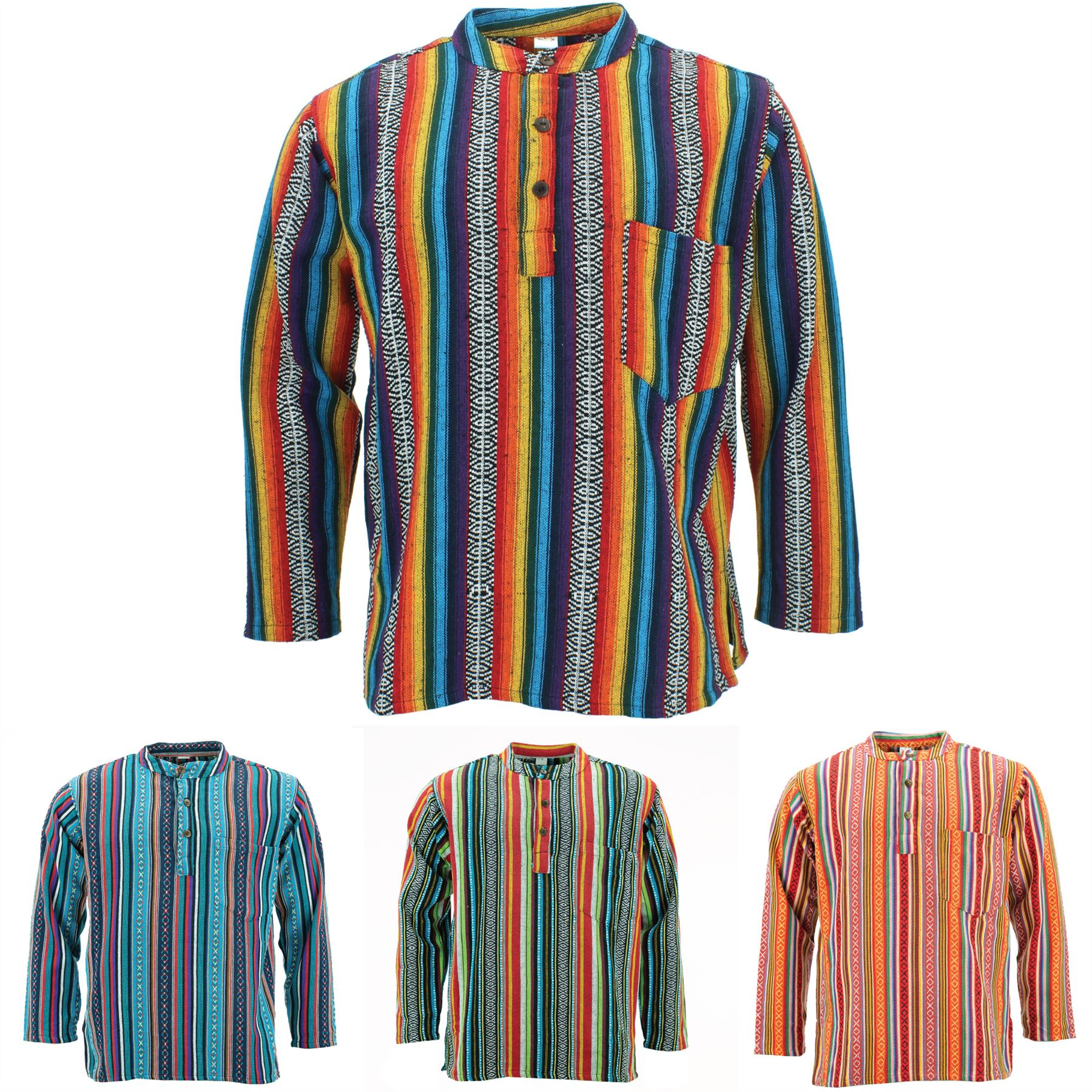 Grandad Kurta Shirt Men/'s Long Sleeve Pure Cotton Collarless Festival Yoga Wear