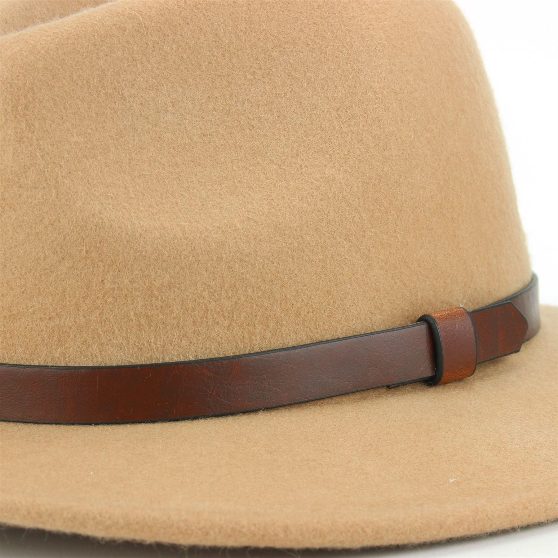 Fedora-Hat-Wool-Felt-Hawkins-Feather-Band-Trilby-Ladies-Men-Travel-Brim-Travel thumbnail 5