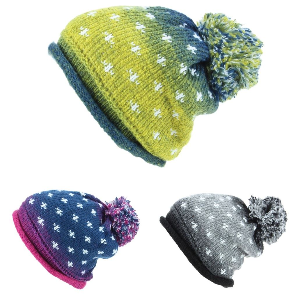 ca804f830f1 Hawkins Chunky Knit Colour Fade Slouch Beanie Bobble Hat with Snow Pattern
