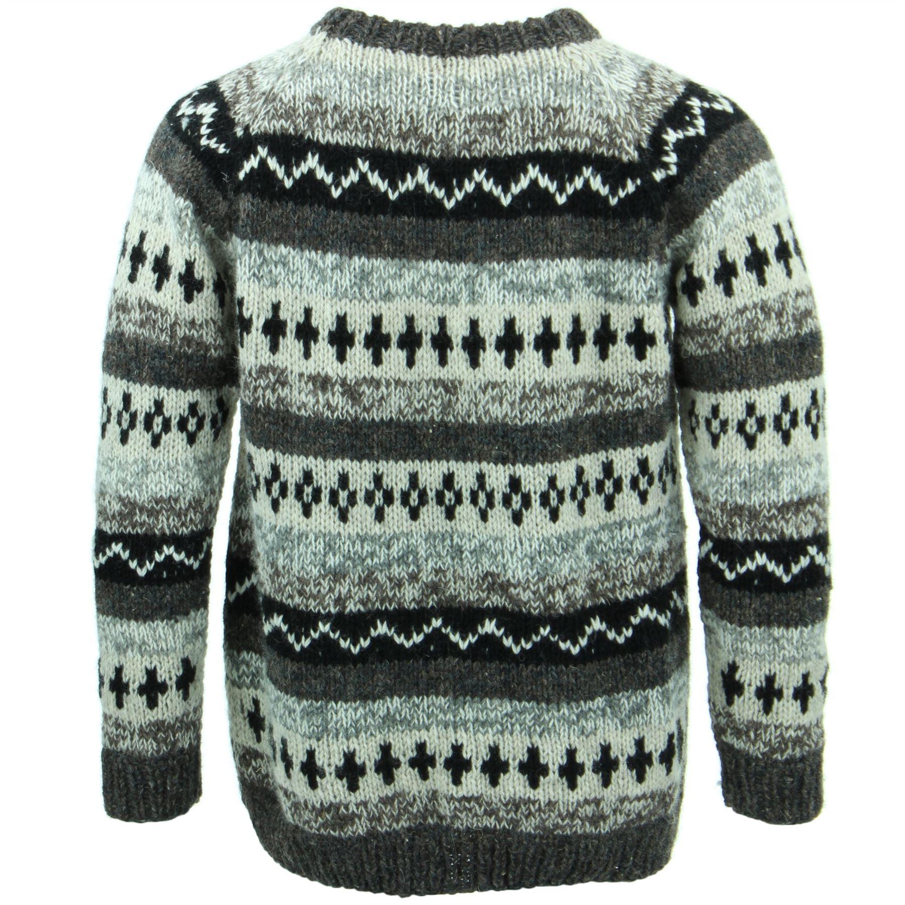 thumbnail 13 - Wool Knit Jumper Sweater Pullover Fairisle Nordic Abstract Warm Nepal Loose